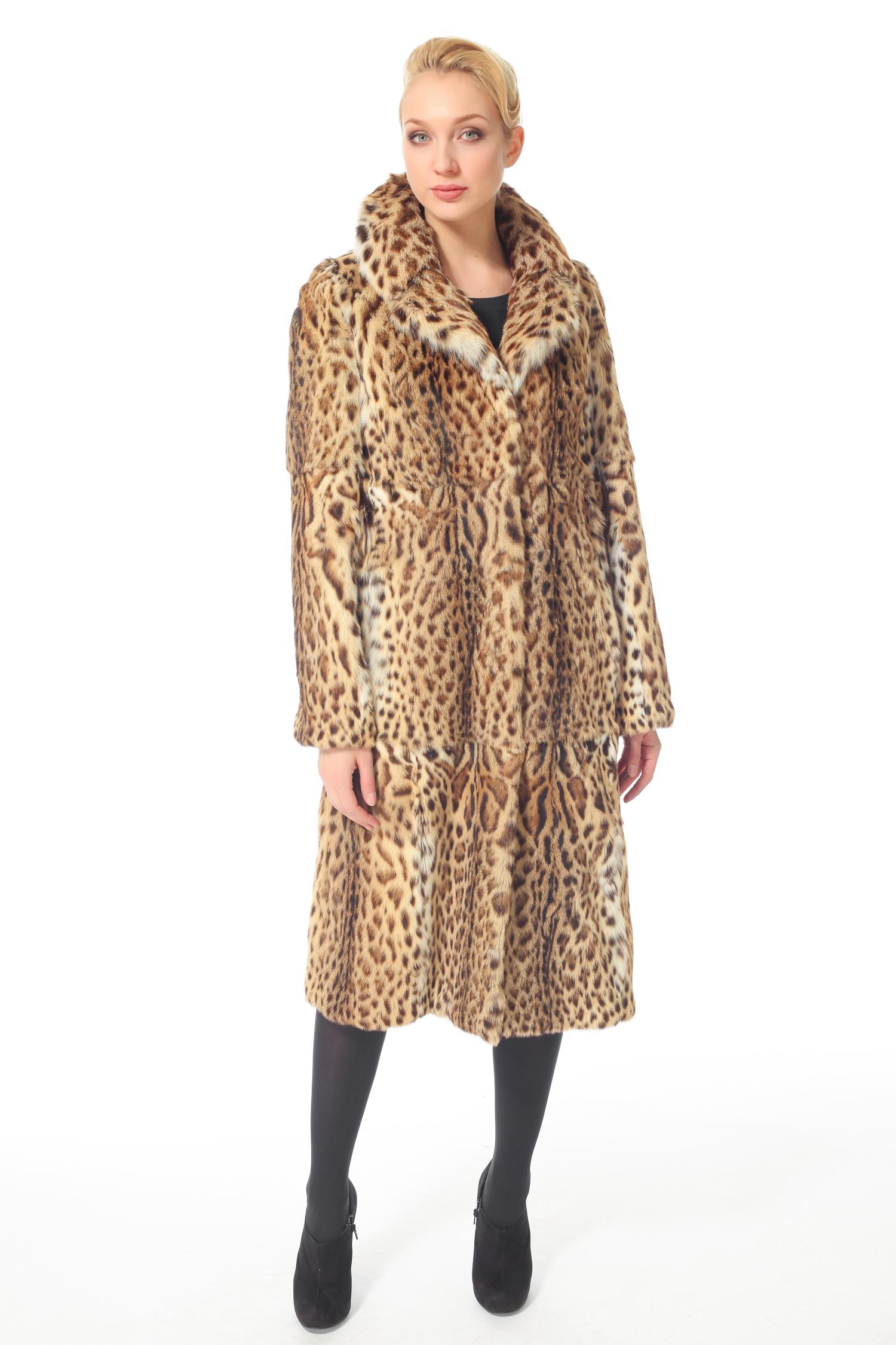 Шуба из камышового кота с воротником, без отделки<br><br>Воротник: Английский<br>Длина см: 110<br>Цвет: Леопард<br>Пол: Женский