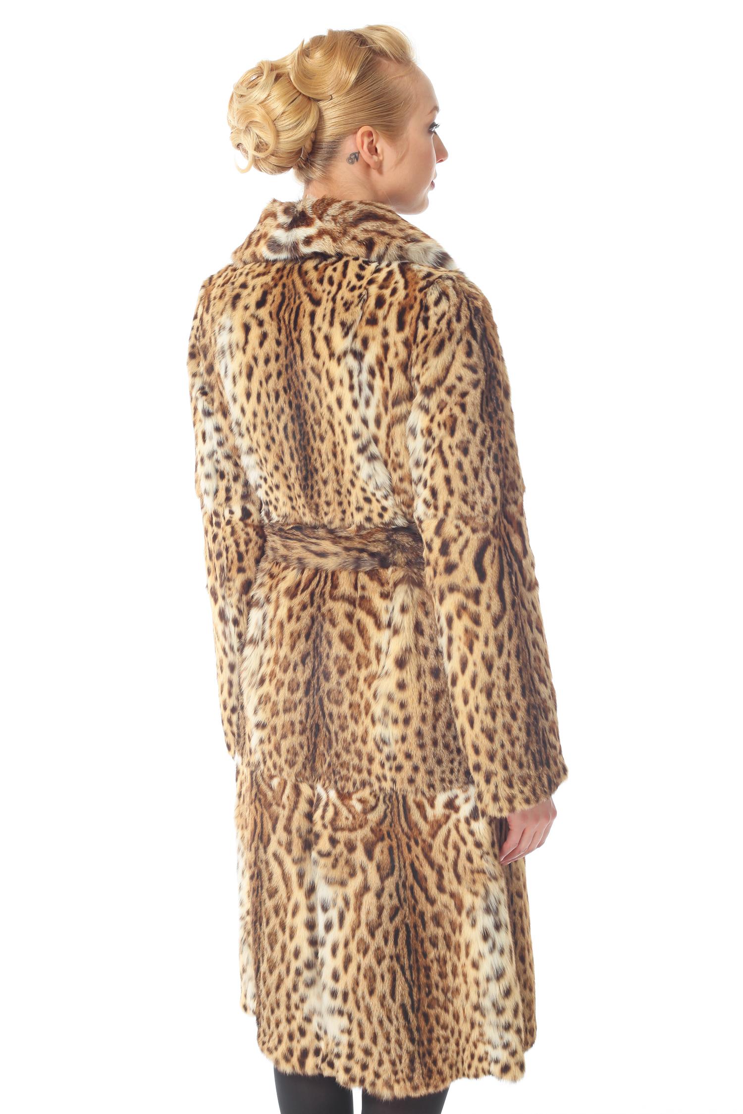 Шуба из камышового кота с воротником, без отделки от Московская Меховая Компания