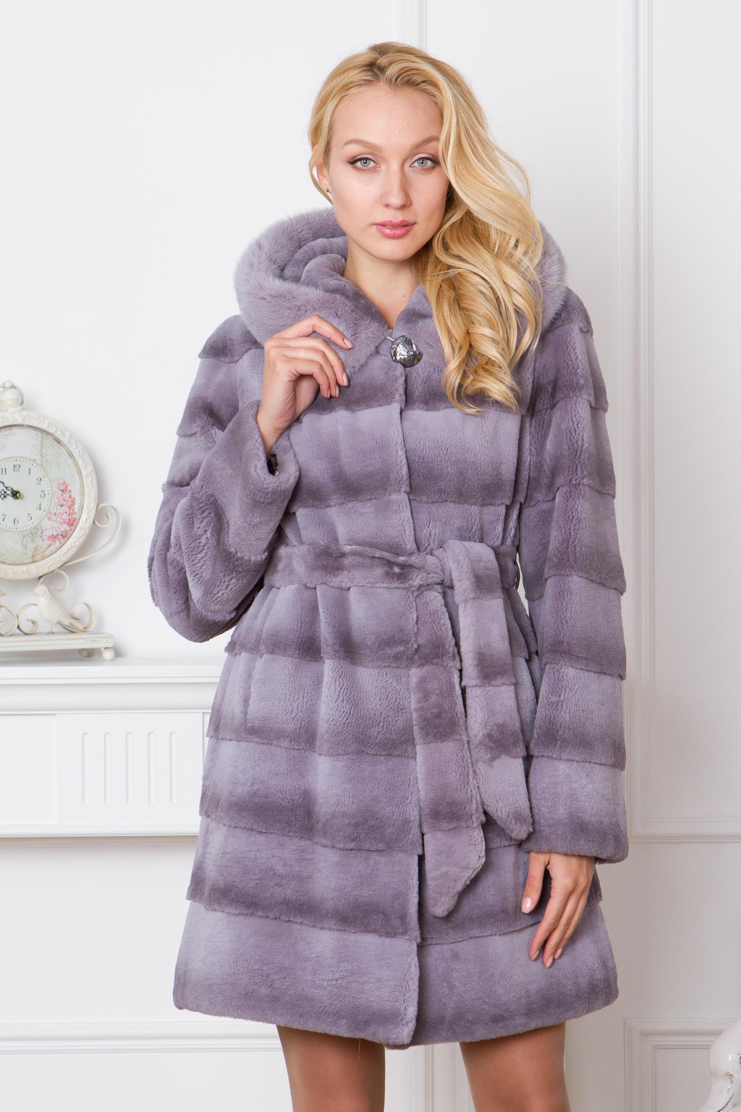 Пальто из кролика с капюшоном, отделка норка