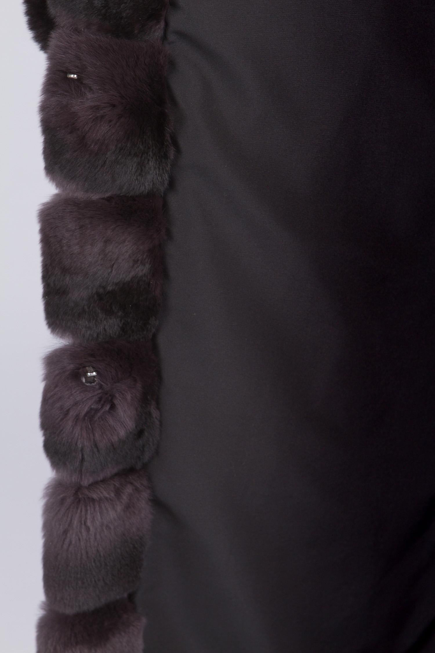 Шуба из кролика рекс с капюшоном, без отделки от Московская Меховая Компания