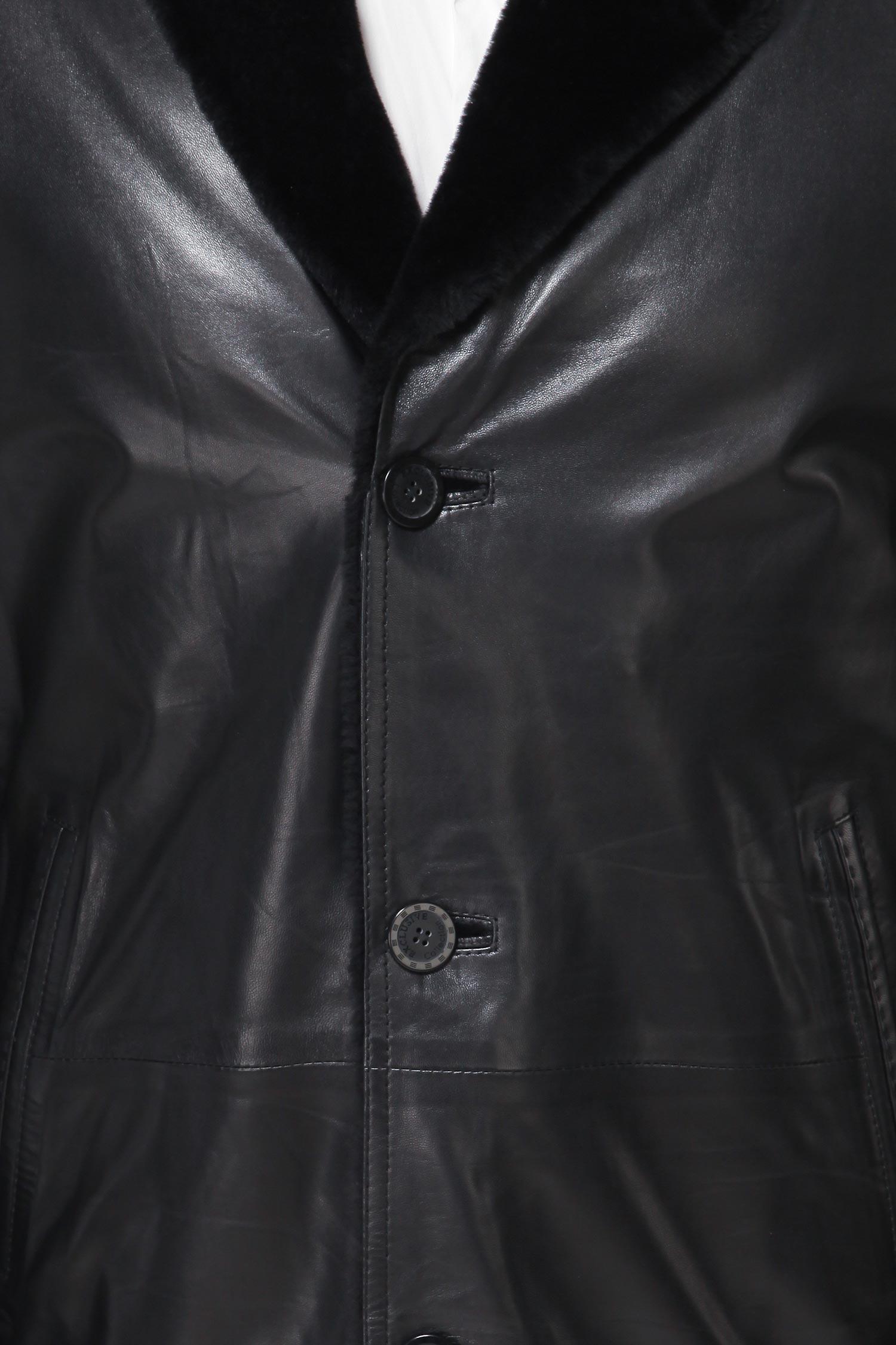 Дубленка мужская из натуральной кожи с воротником, без отделки от Московская Меховая Компания
