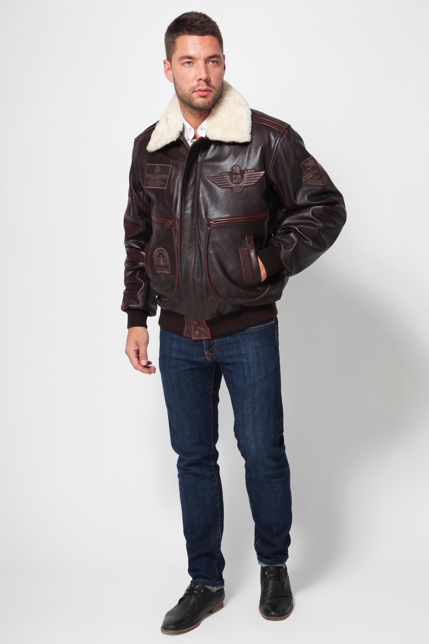 Мужская кожаная куртка из натуральной кожи с воротником, отделка овчина от Московская Меховая Компания
