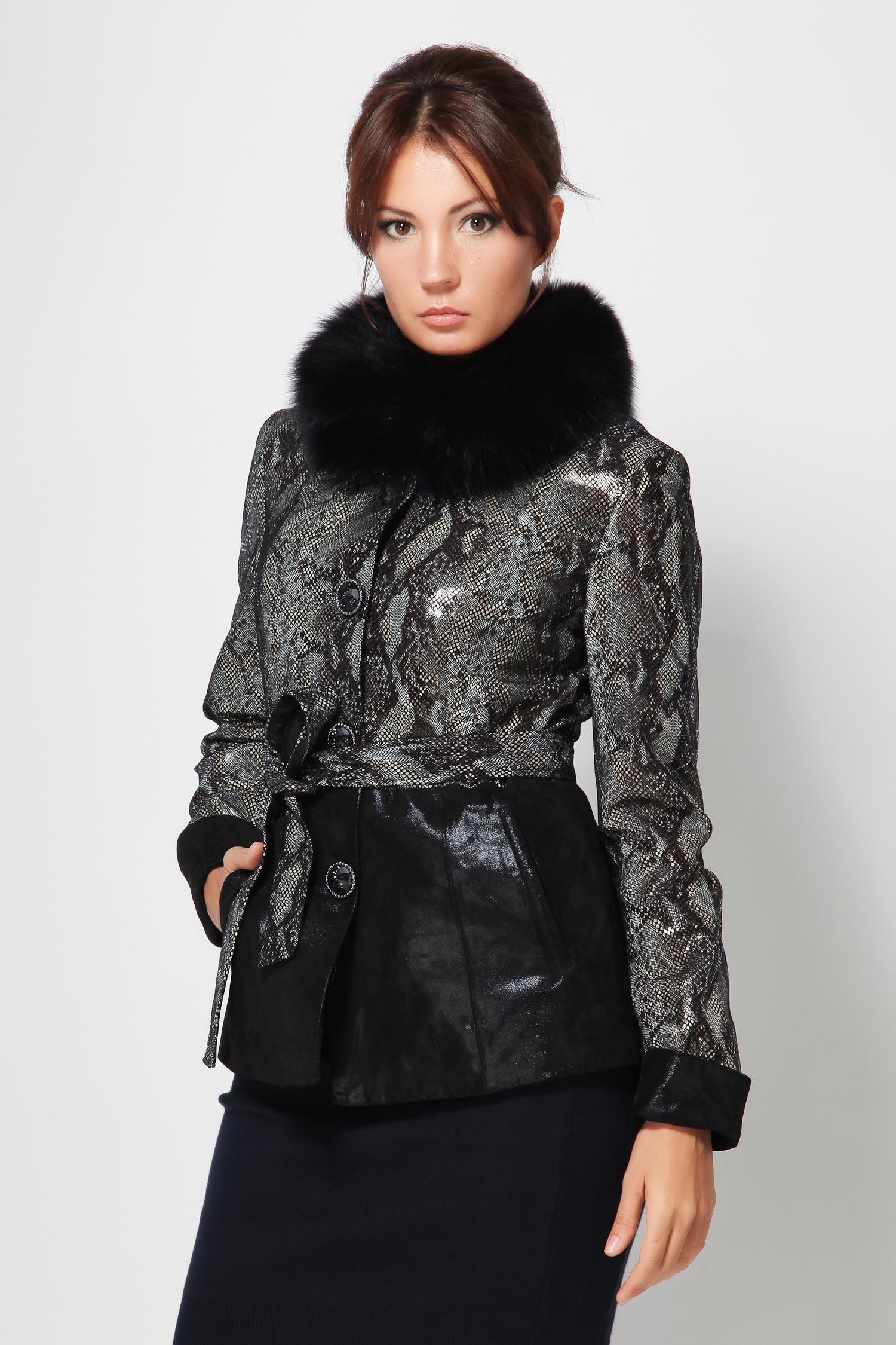 Женская кожаная кожаная куртка из замши (с накатом) с воротником, отделка песец