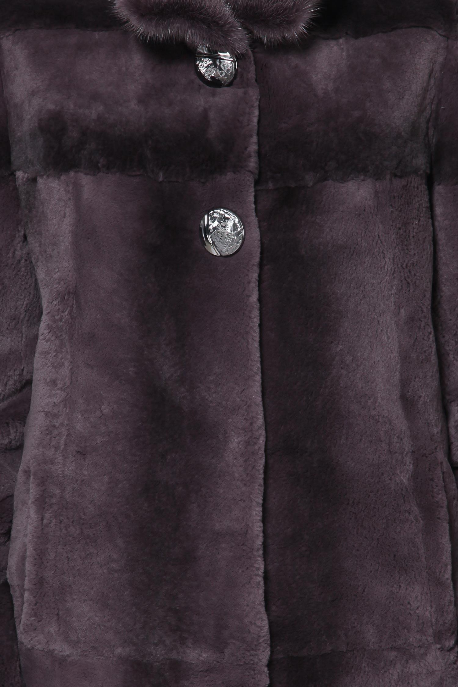 Шуба из кролика рекс с воротником, отделка норка от Московская Меховая Компания