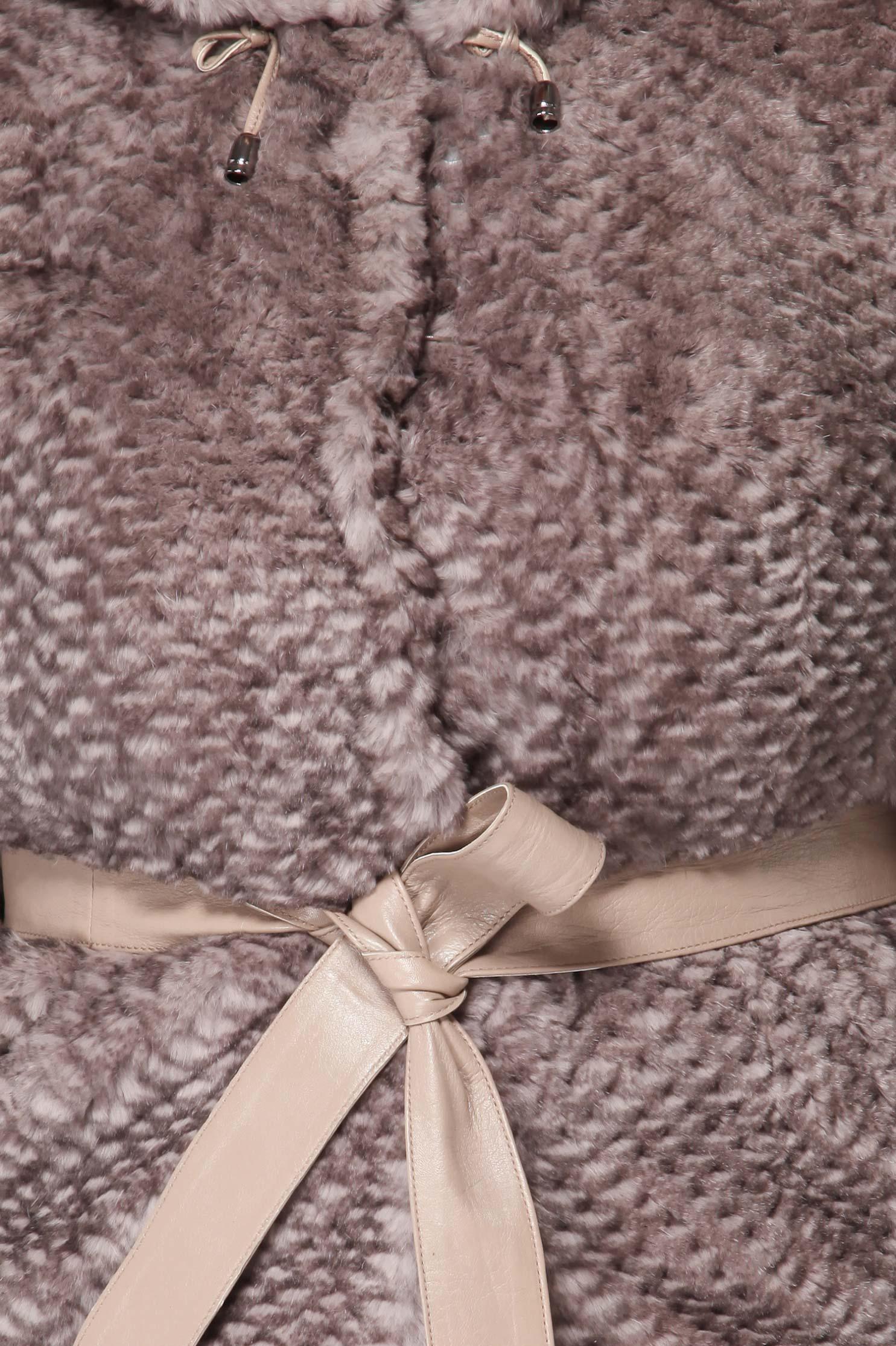 Куртка из кролика с капюшоном, без отделки от Московская Меховая Компания