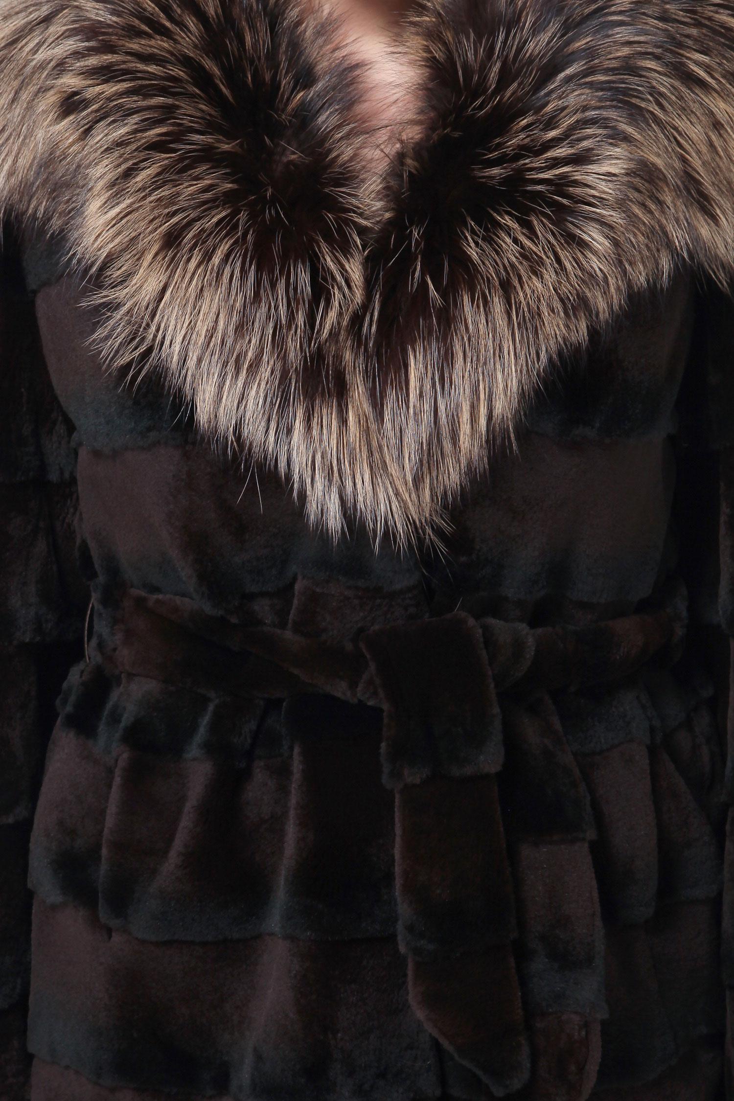 Куртка из кролика рекс с капюшоном, отделка лиса от Московская Меховая Компания