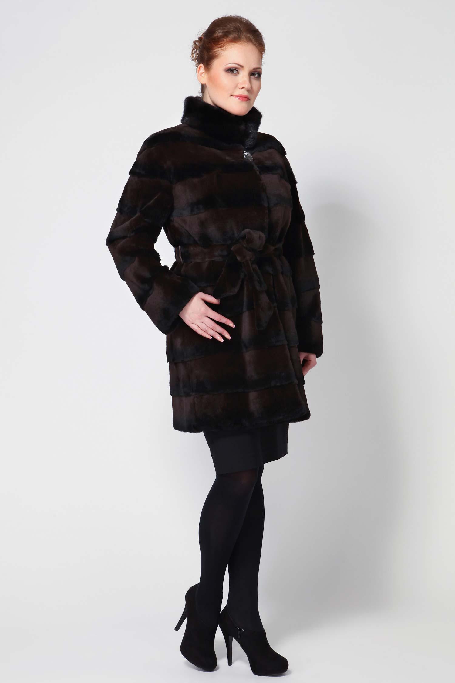 Куртка из кролика рекс с воротником, отделка норка от Московская Меховая Компания