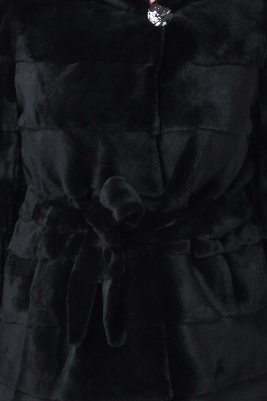 Пальто из кролика рекс с капюшоном, без отделки от Московская Меховая Компания