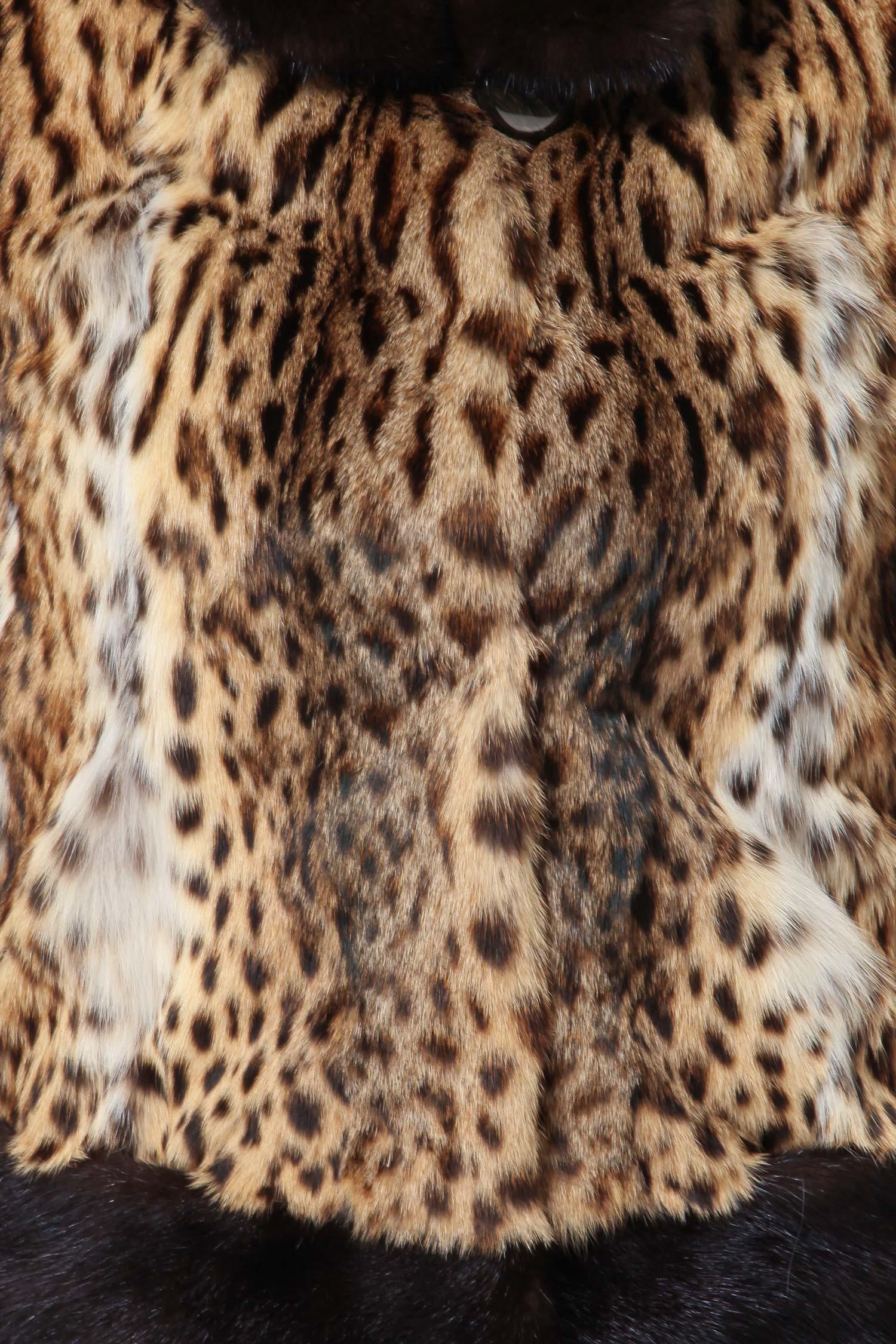 Куртка из камышового кота с воротником, отделка норка от Московская Меховая Компания