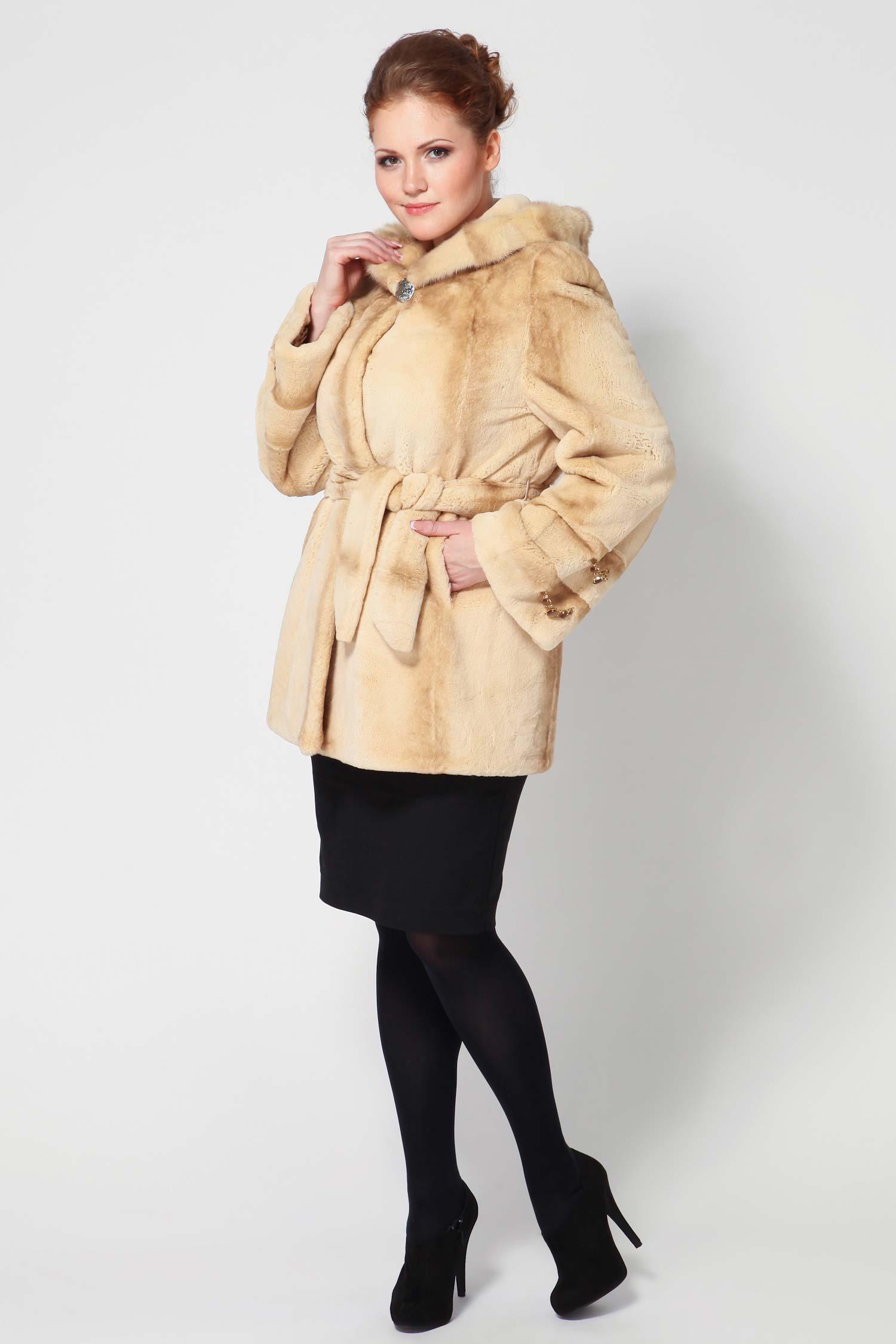 Пальто из кролика рекс с капюшоном, отделка норка от Московская Меховая Компания