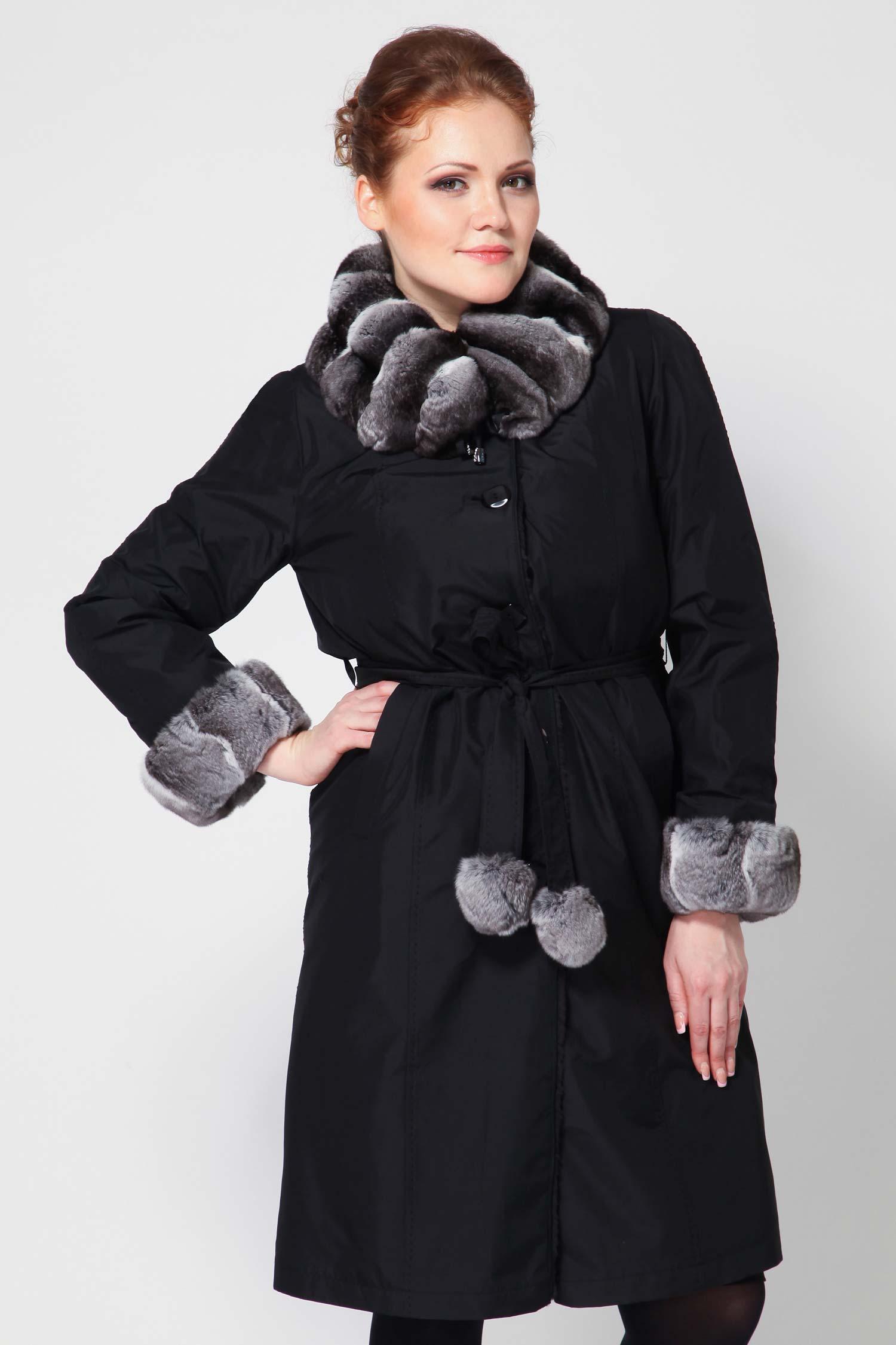 Пальто на меху с воротником, отделка кролик рекс от Московская Меховая Компания