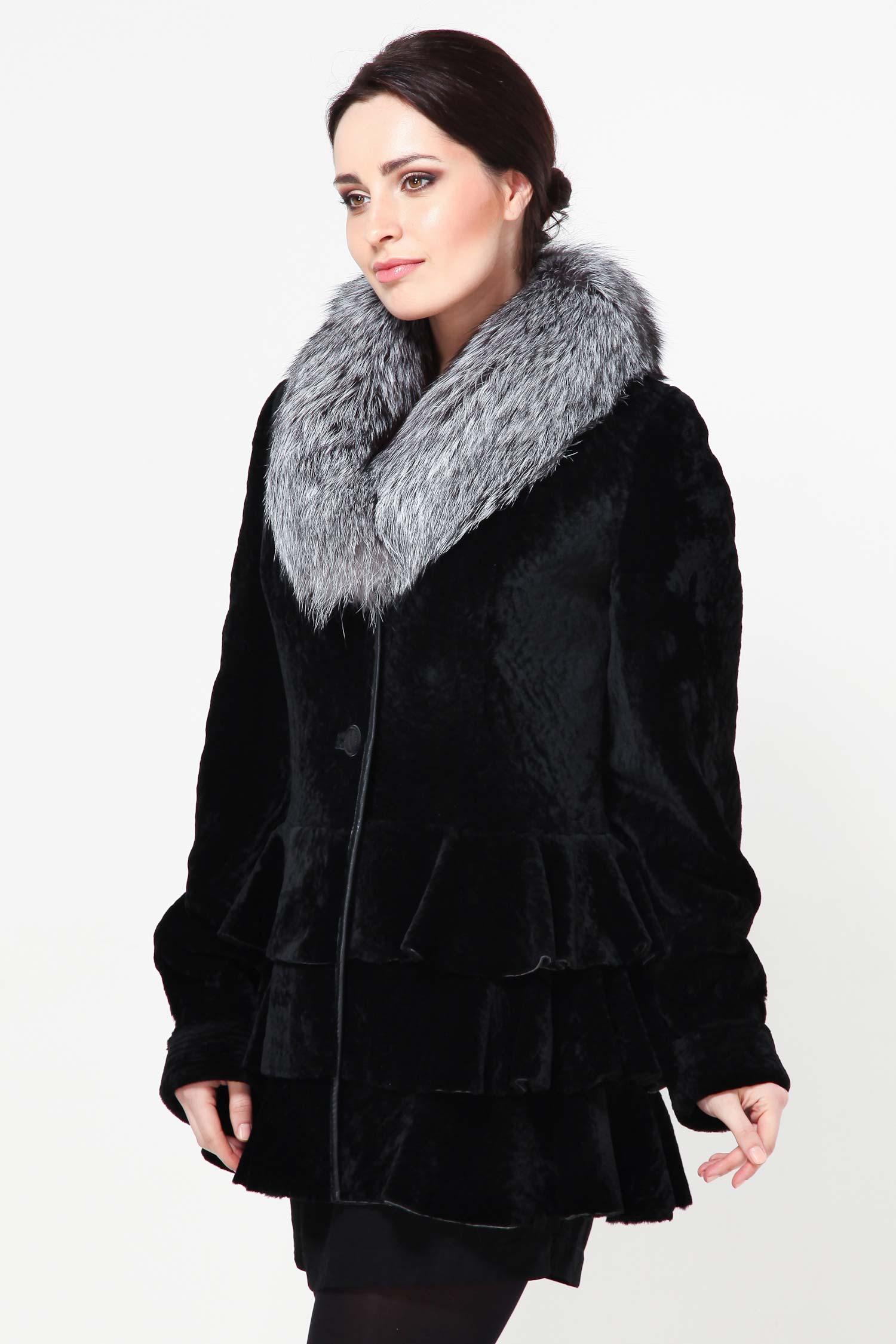 Куртка из мутона с воротником, отделка лиса от Московская Меховая Компания