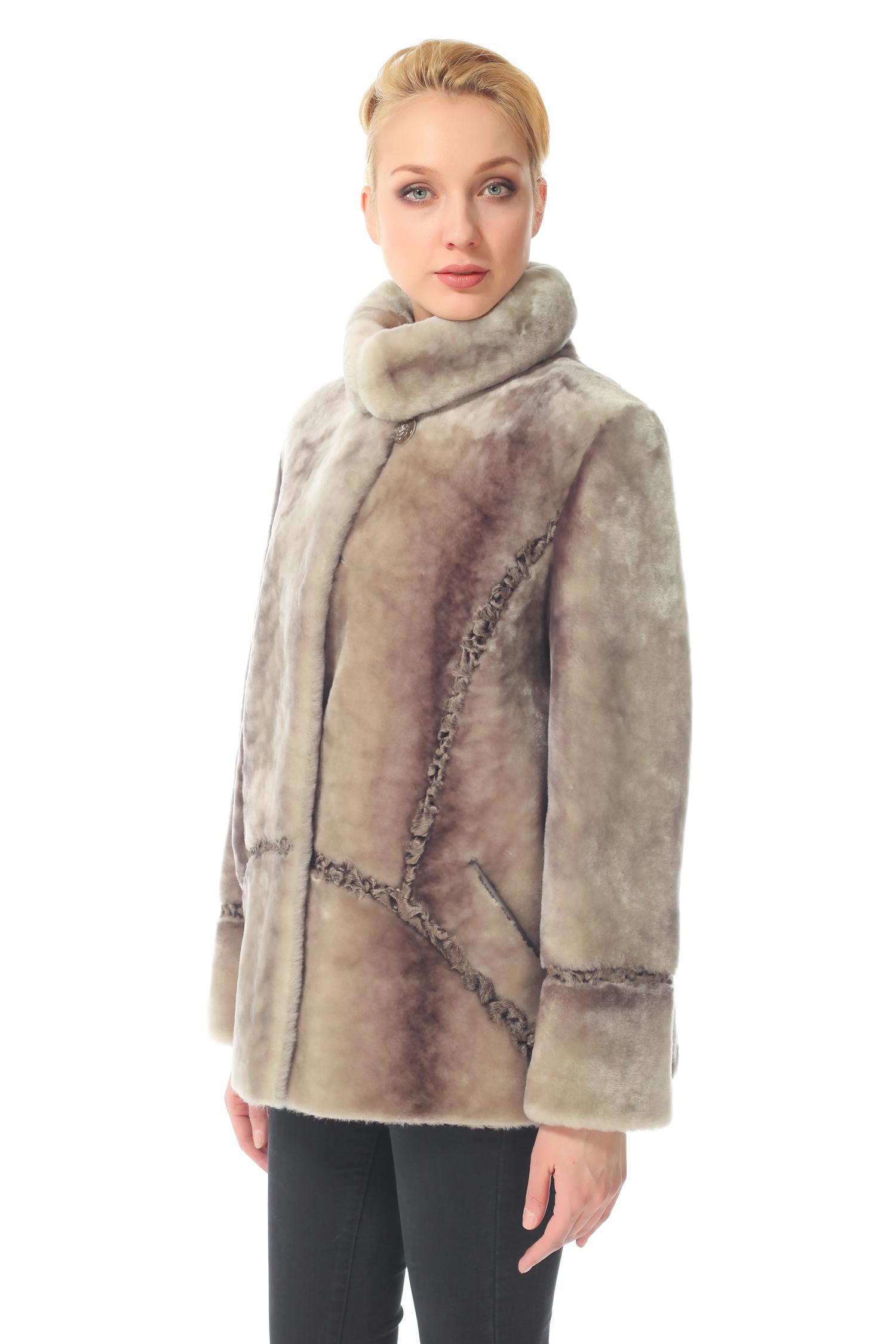 Куртка из мутона с воротником, без отделки<br><br>Воротник: Обычный<br>Длина см: 65<br>Цвет: Серый<br>Пол: Женский