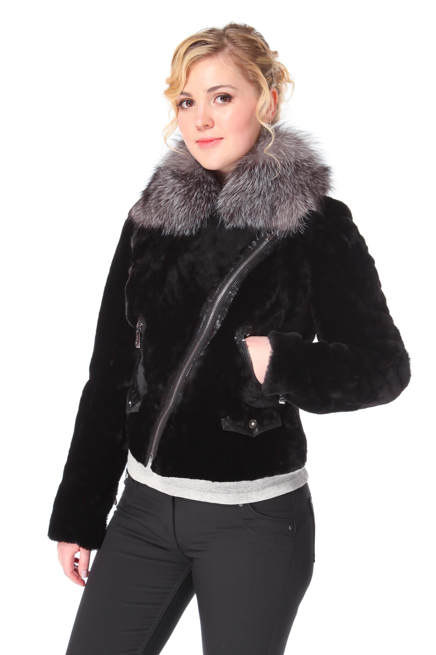 Куртка из мутона с воротником, отделка лиса<br><br>Длина см: Короткая (51-74 )<br>Цвет: черный<br>Воротник: без воротника<br>Застежка: молния<br>Пол: Женский<br>Размер RU: 40