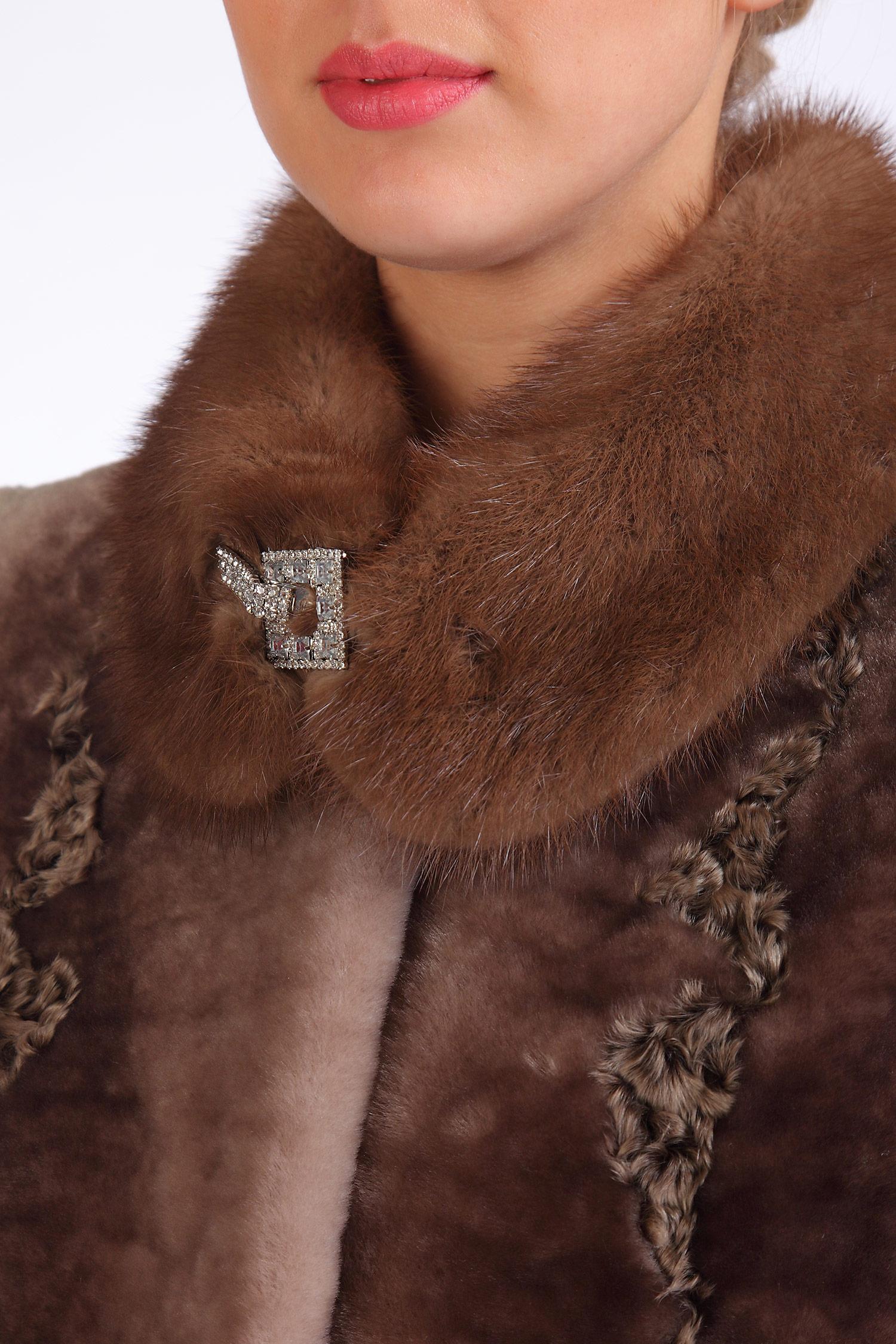 Шуба из мутона с воротником, отделка норка + каракуль от Московская Меховая Компания