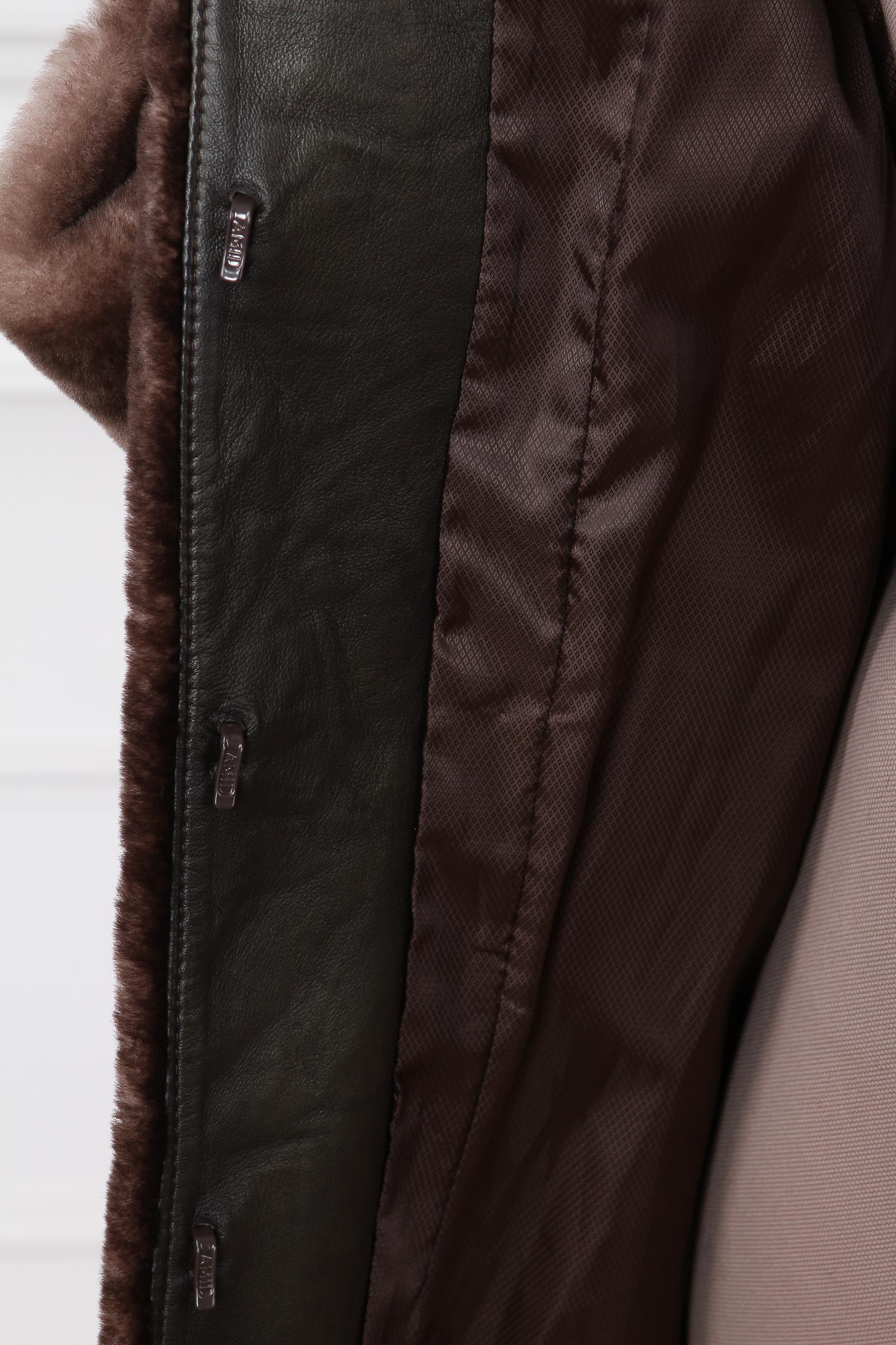 Шуба из мутона с воротником, отделка норка от Московская Меховая Компания