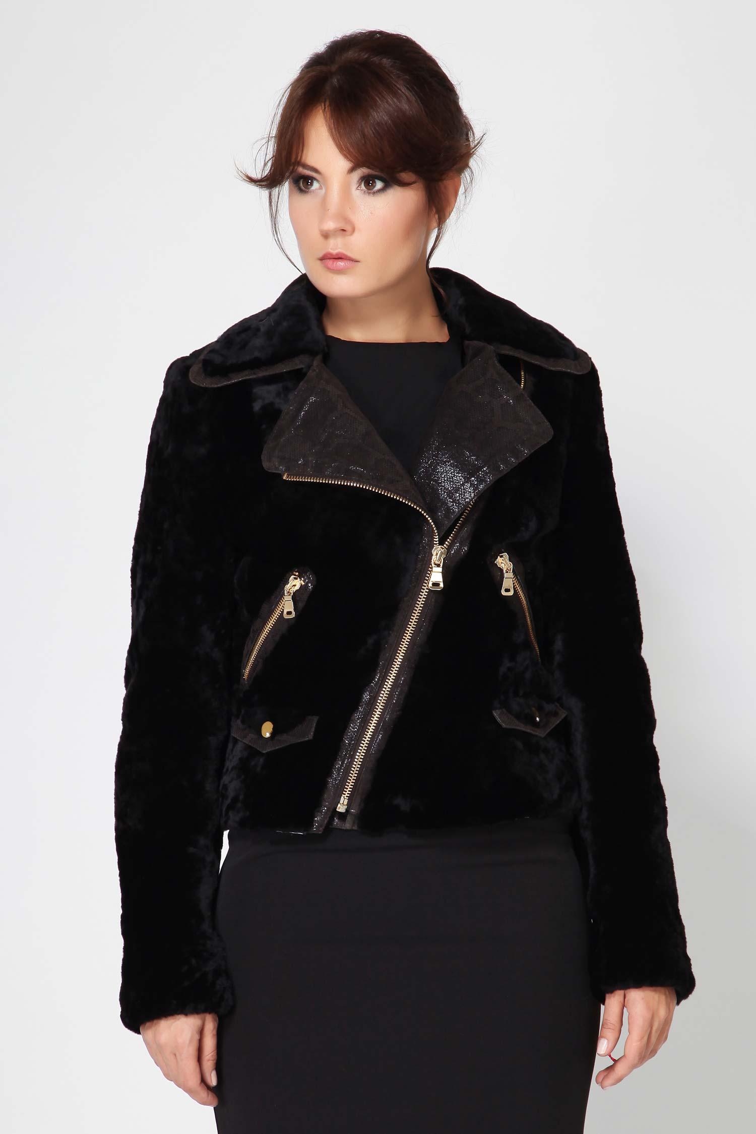 Куртка из мутона с воротником, без отделки