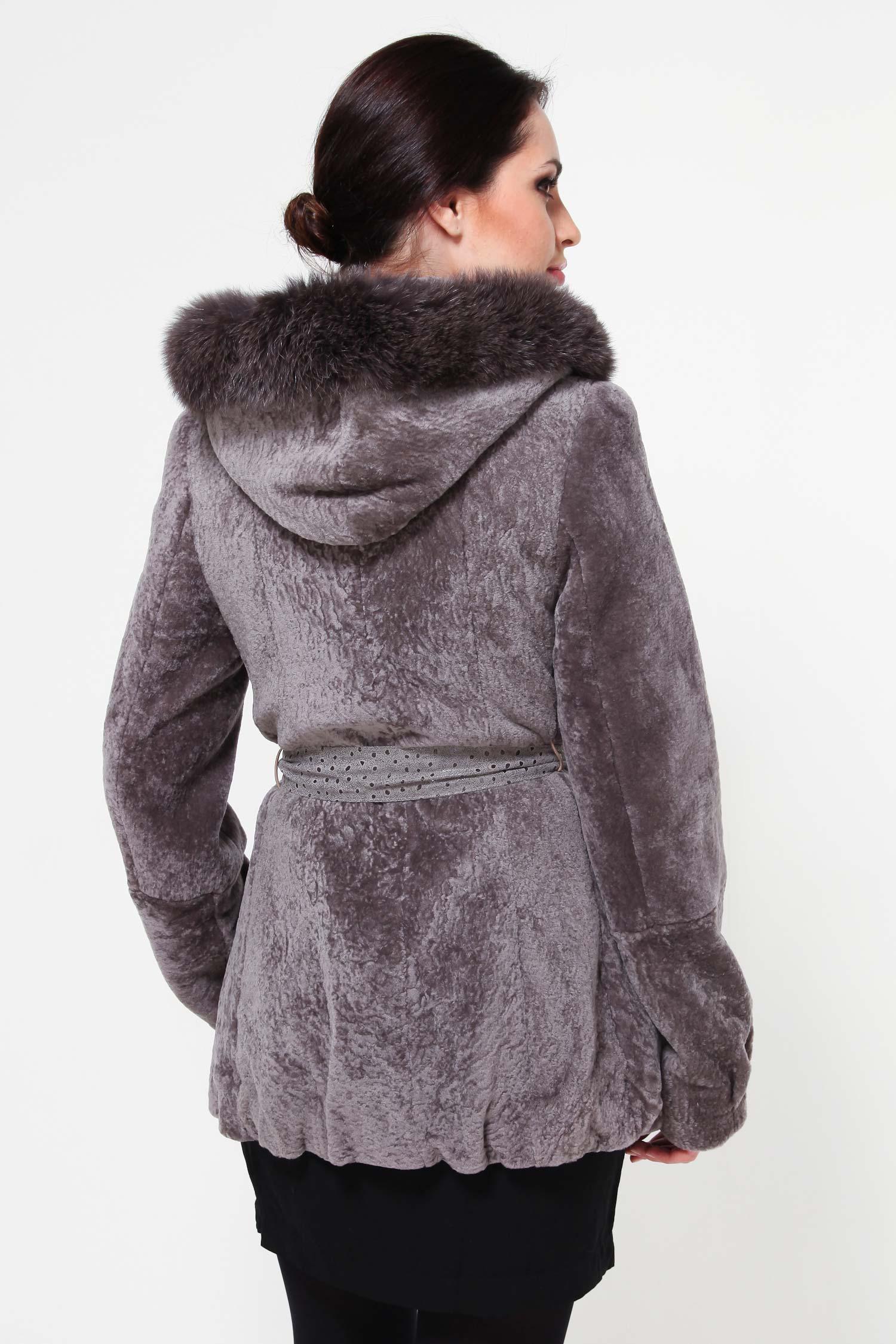 Куртка из астрагана с капюшоном, отделка песец от Московская Меховая Компания