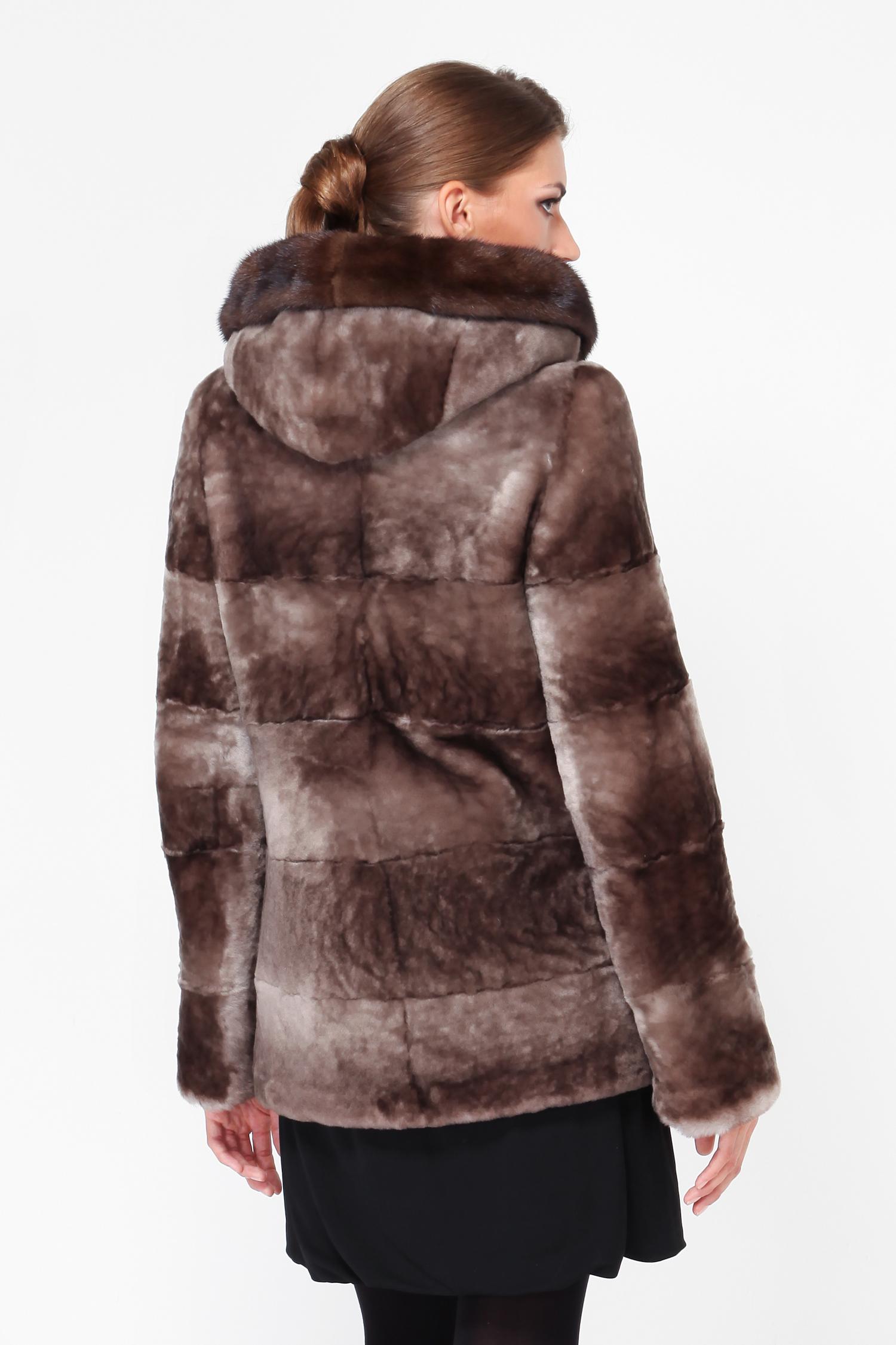 Куртка из мутона с капюшоном, отделка норка от Московская Меховая Компания