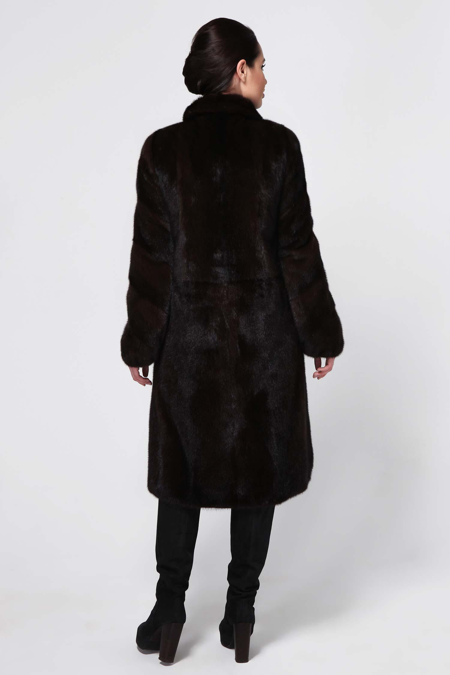 Фото 3 - Шубу из норки с воротником от МОСМЕХА коричневого цвета