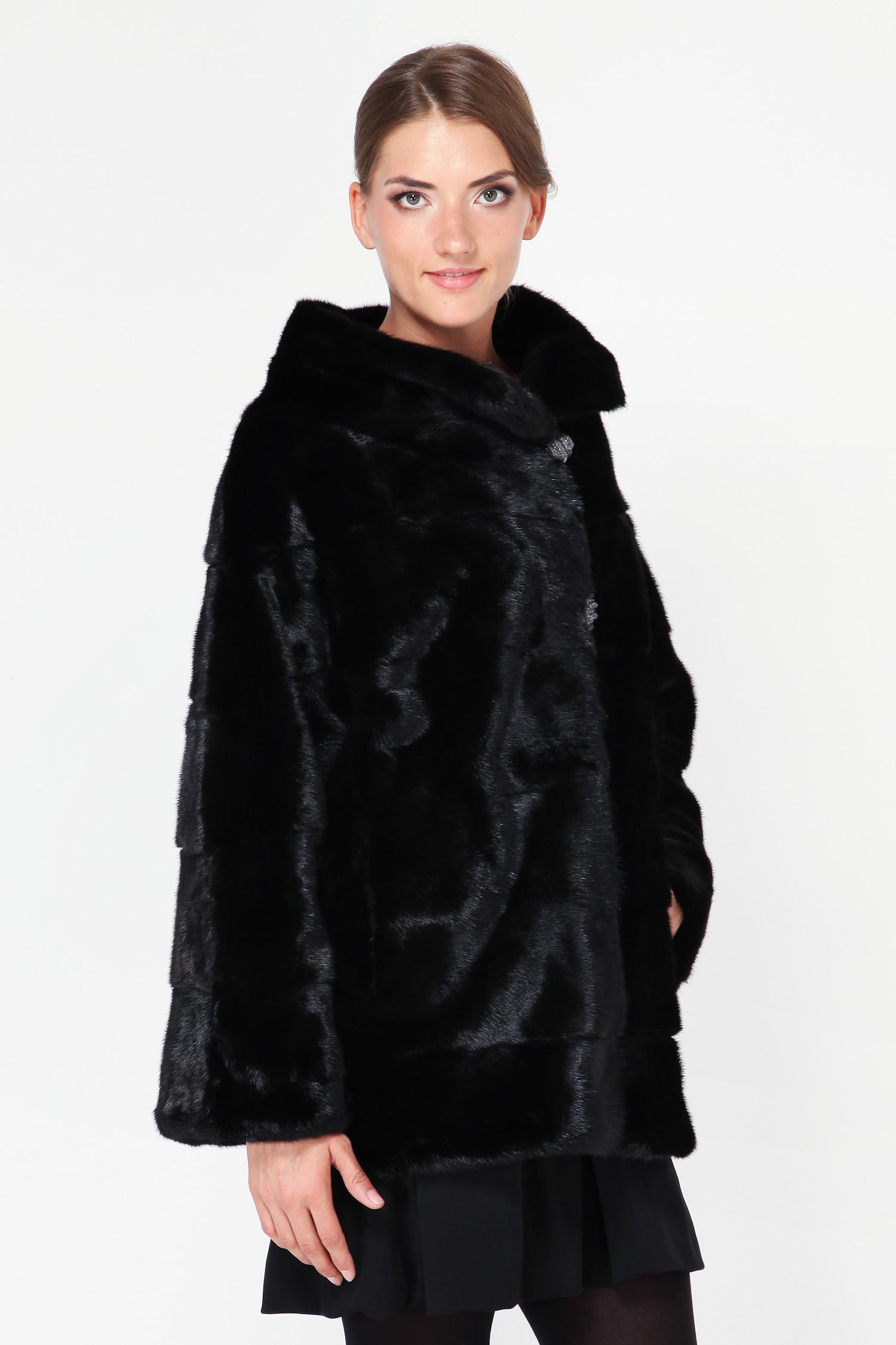 Куртка из норки с воротником, без отделки