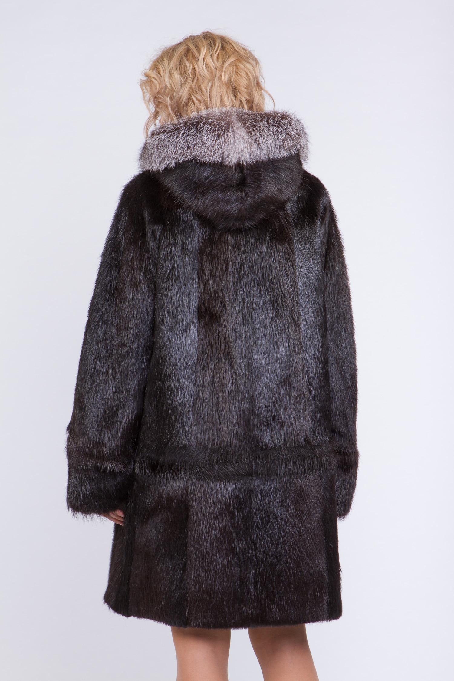 Шуба из нутрии с капюшоном, отделка лиса от Московская Меховая Компания