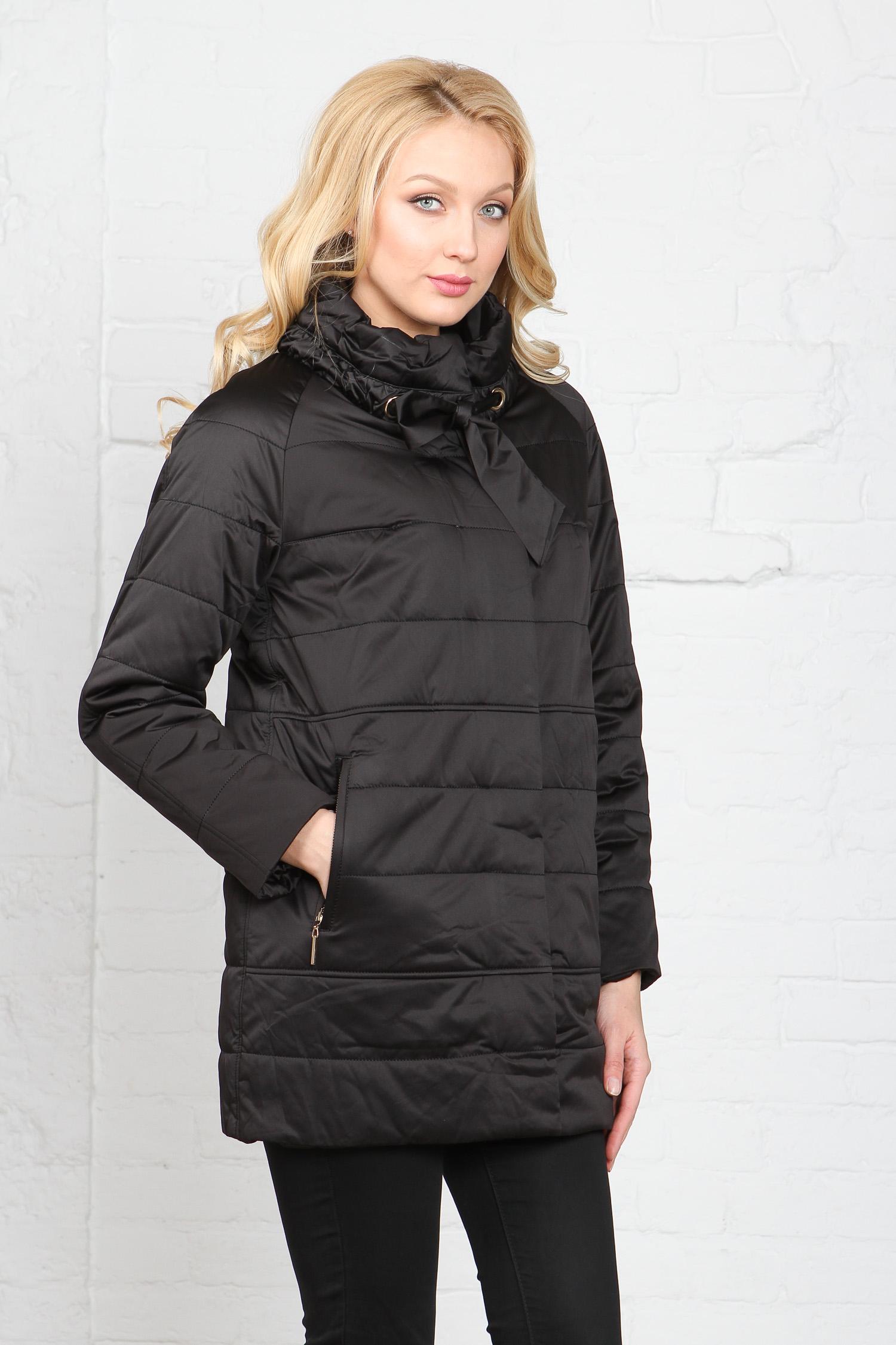 Куртка женская из текстиля с воротником, без отделки<br><br>Воротник: стойка<br>Длина см: Средняя (75-89 )<br>Материал: Текстиль<br>Цвет: черный<br>Вид застежки: центральная<br>Застежка: на молнии<br>Пол: Женский<br>Размер RU: 48