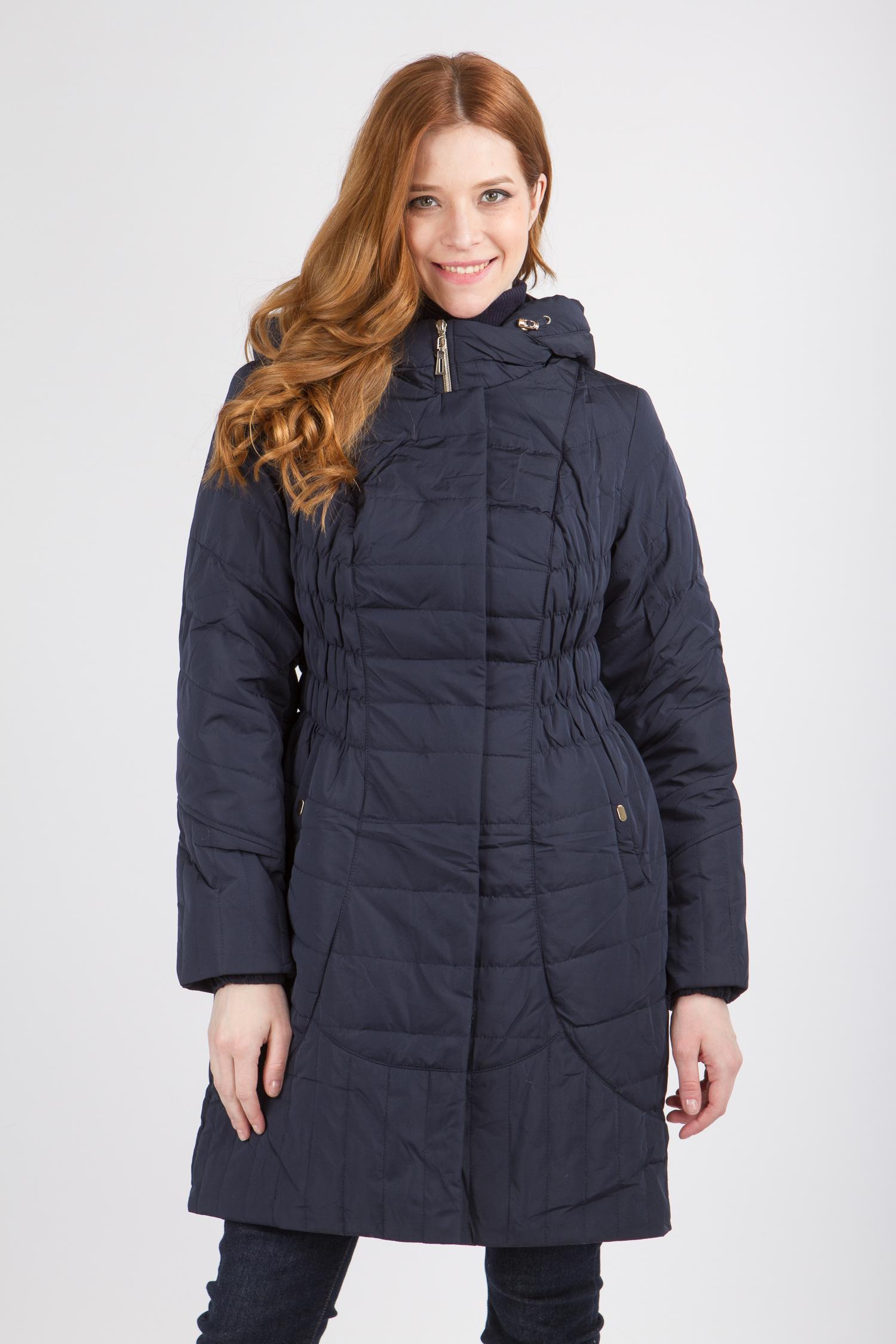 Купить со скидкой Пальто женское из текстиля с капюшоном, без отделки