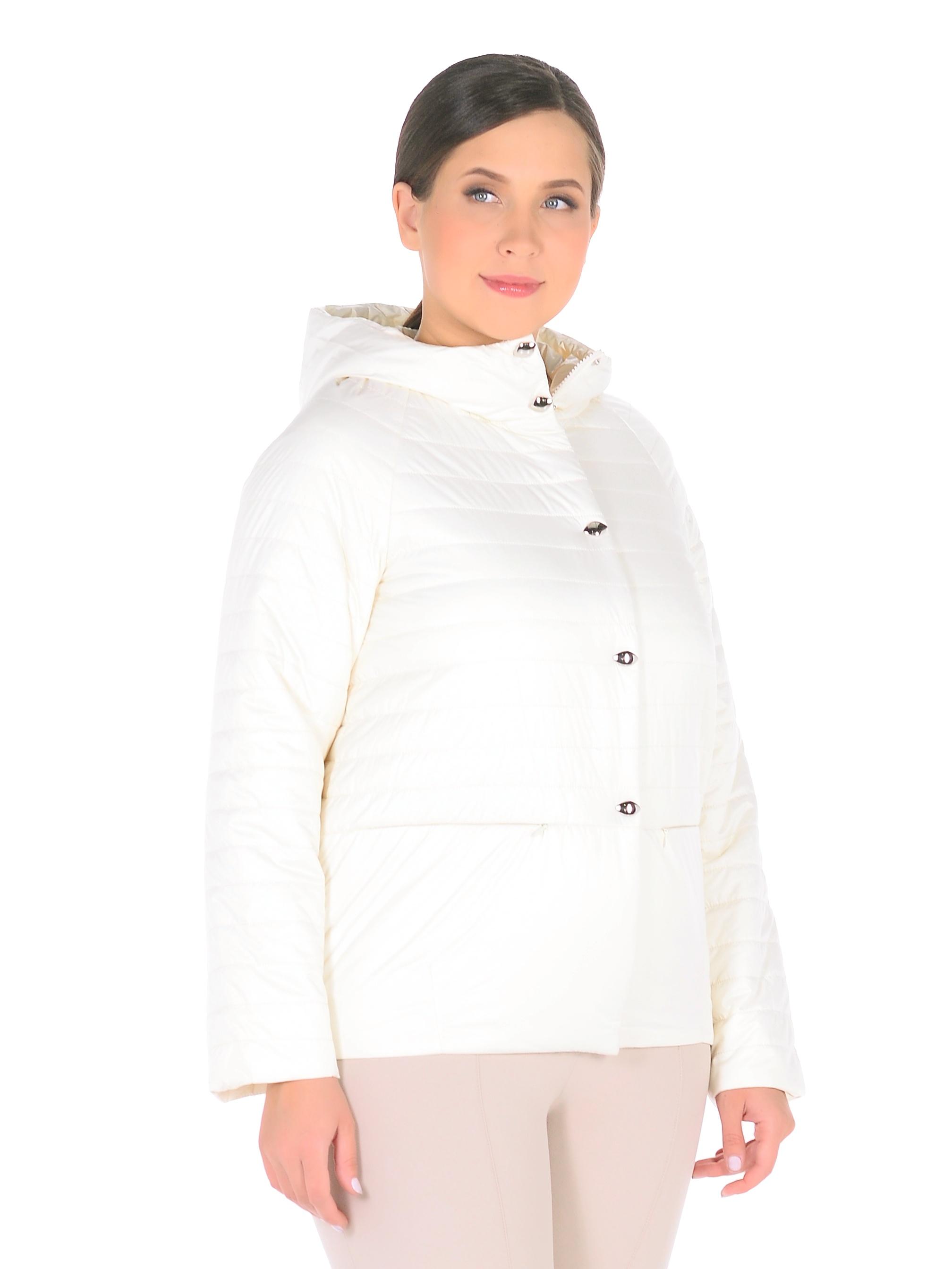 Куртка женская из текстиля с капюшоном, без отделки<br><br>Воротник: капюшон<br>Длина см: Короткая (51-74 )<br>Материал: Текстиль<br>Цвет: молочный<br>Вид застежки: потайная<br>Застежка: на молнии<br>Пол: Женский<br>Размер RU: 52