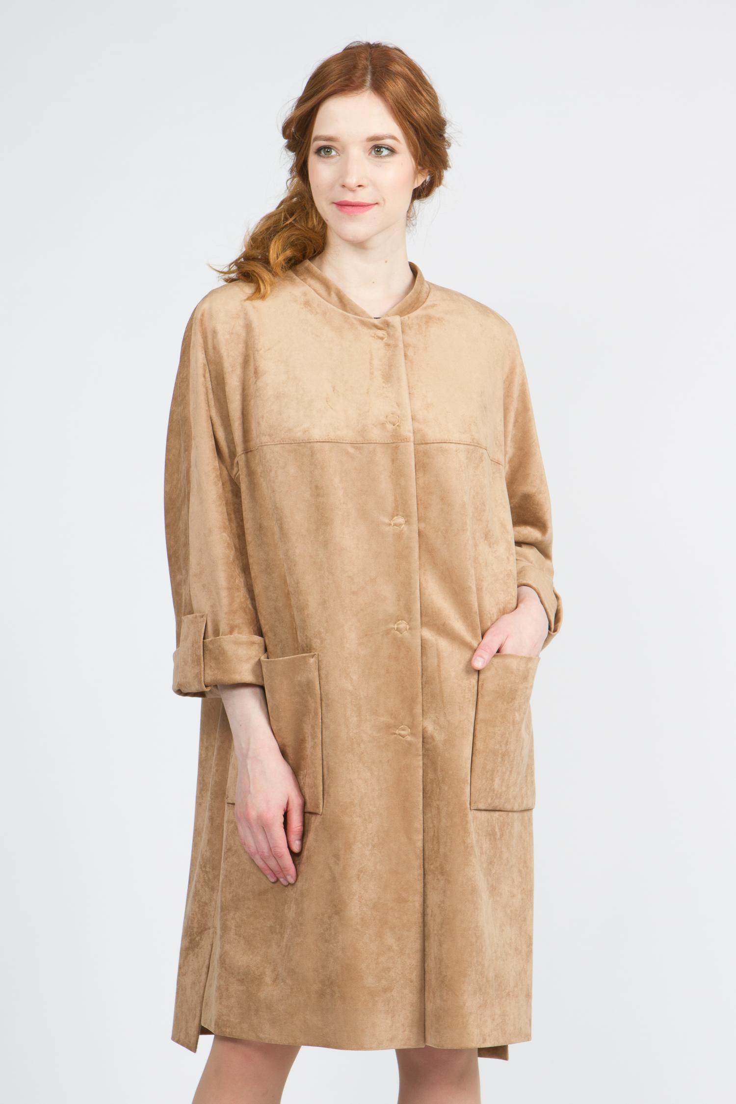 Облегченное женское пальто из текстиля с воротником, без отделки. Производитель: Московская Меховая Компания, артикул: 9070