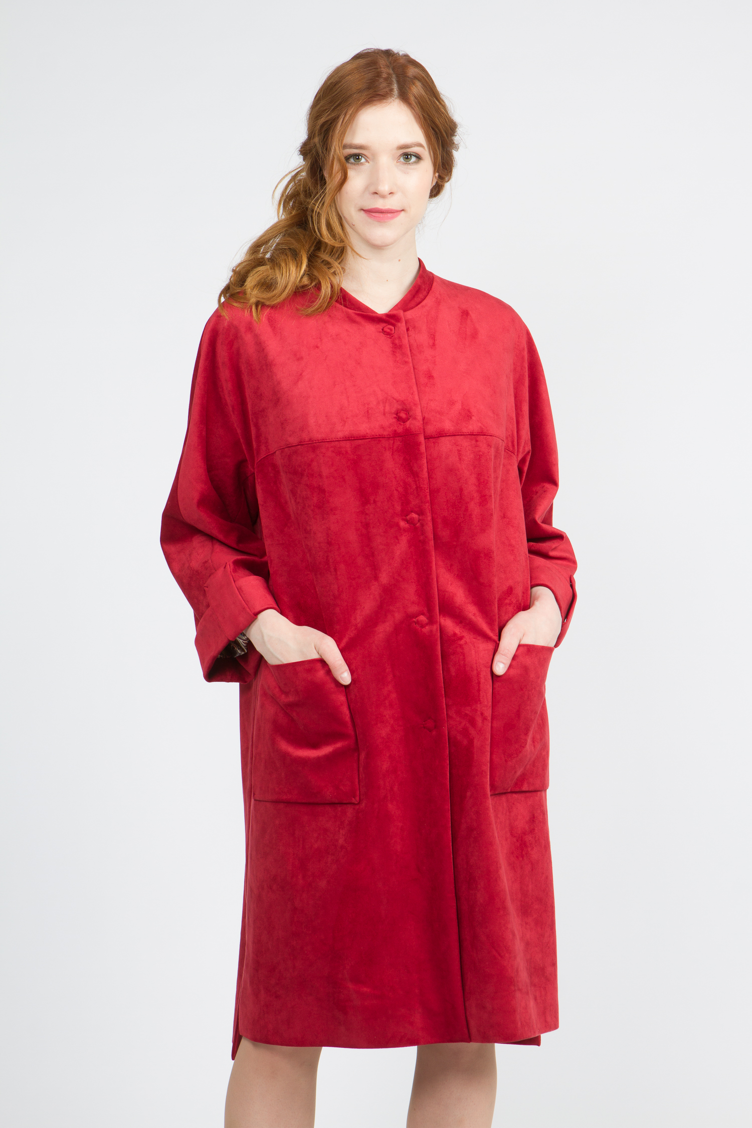 Облегченное женское пальто из текстиля с воротником, без отделки. Производитель: Московская Меховая Компания, артикул: 9071
