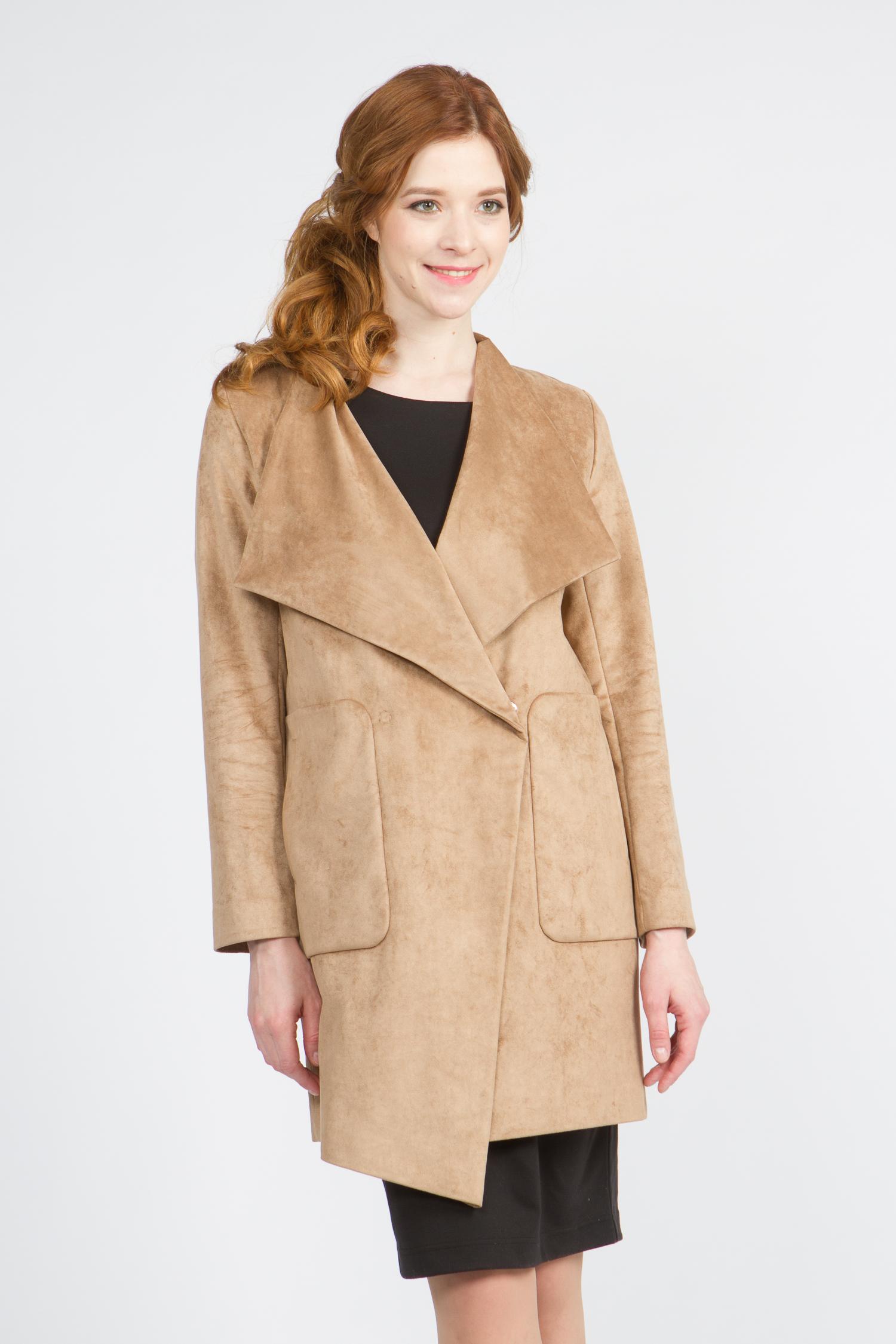 Облегченное женское пальто из текстиля с воротником, без отделки. Производитель: Московская Меховая Компания, артикул: 9072