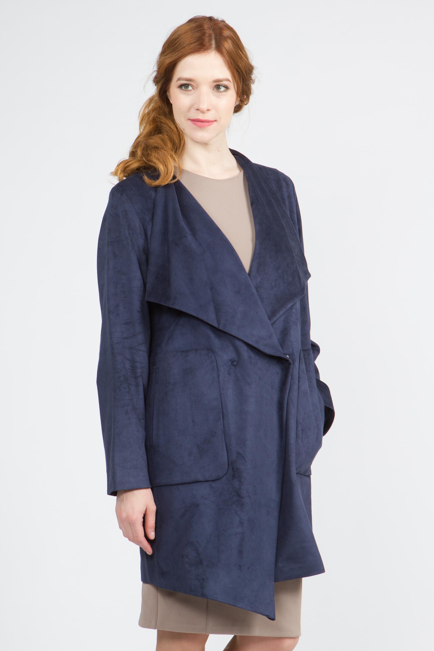 Облегченное женское пальто из текстиля с воротником, без отделки. Производитель: Московская Меховая Компания, артикул: 9073