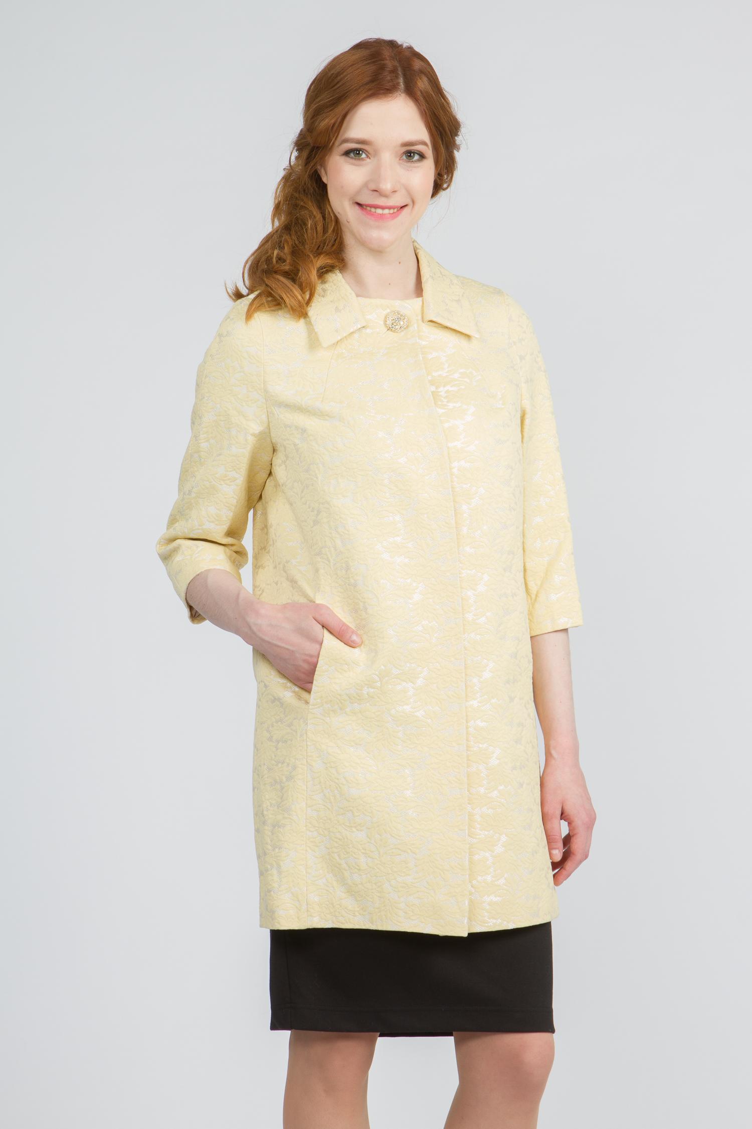 Облегченное женское пальто из текстиля с воротником, без отделки. Производитель: Московская Меховая Компания, артикул: 9074