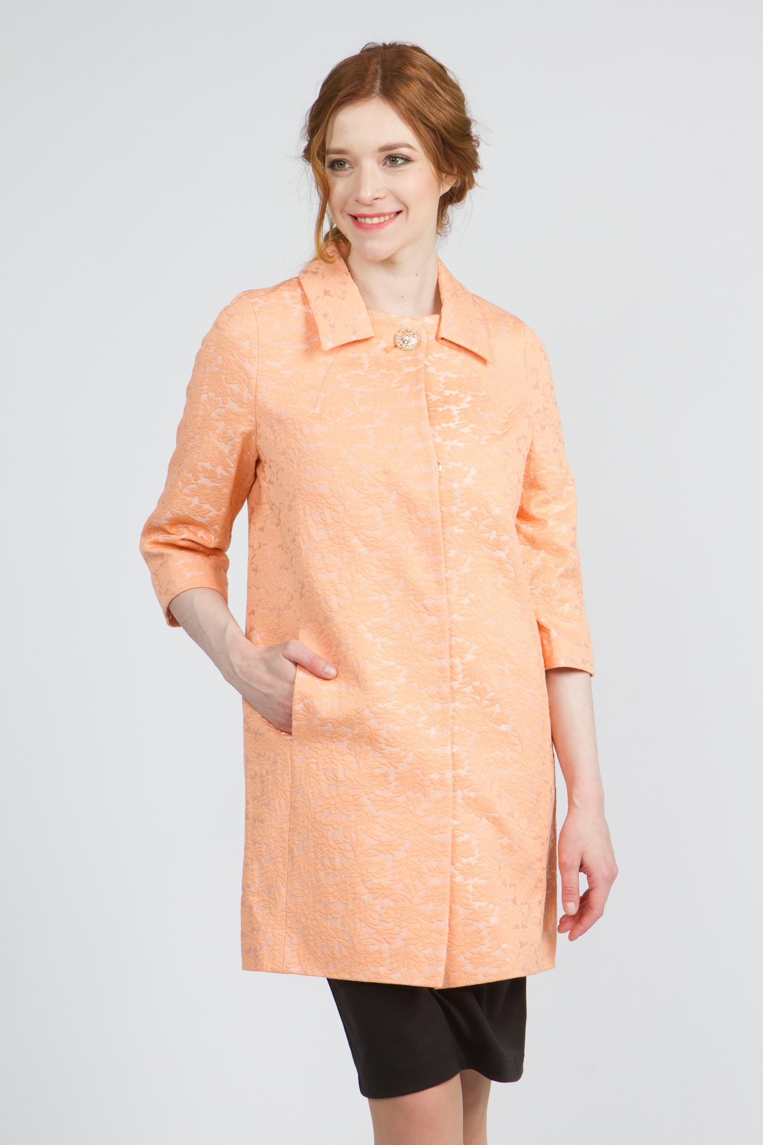 Облегченное женское пальто из текстиля с воротником, без отделки. Производитель: Московская Меховая Компания, артикул: 9076