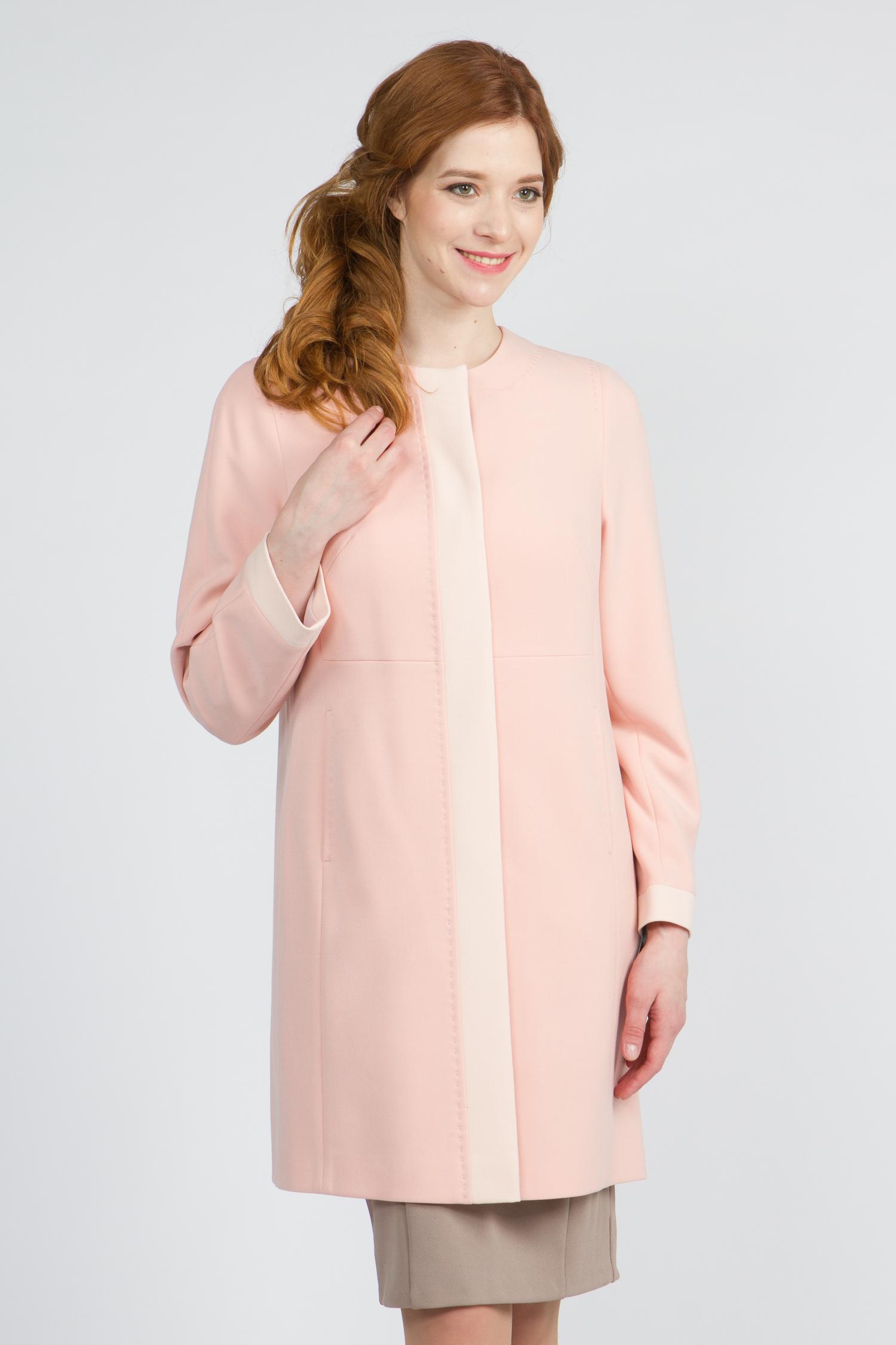 Облегченное женское пальто из текстиля без воротника, без отделки. Производитель: Московская Меховая Компания, артикул: 9079