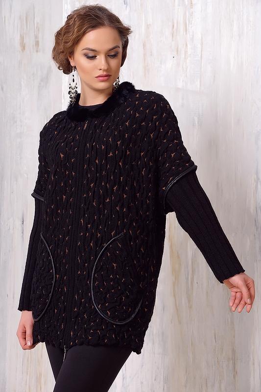 Женское пальто с воротником, отделка кролик