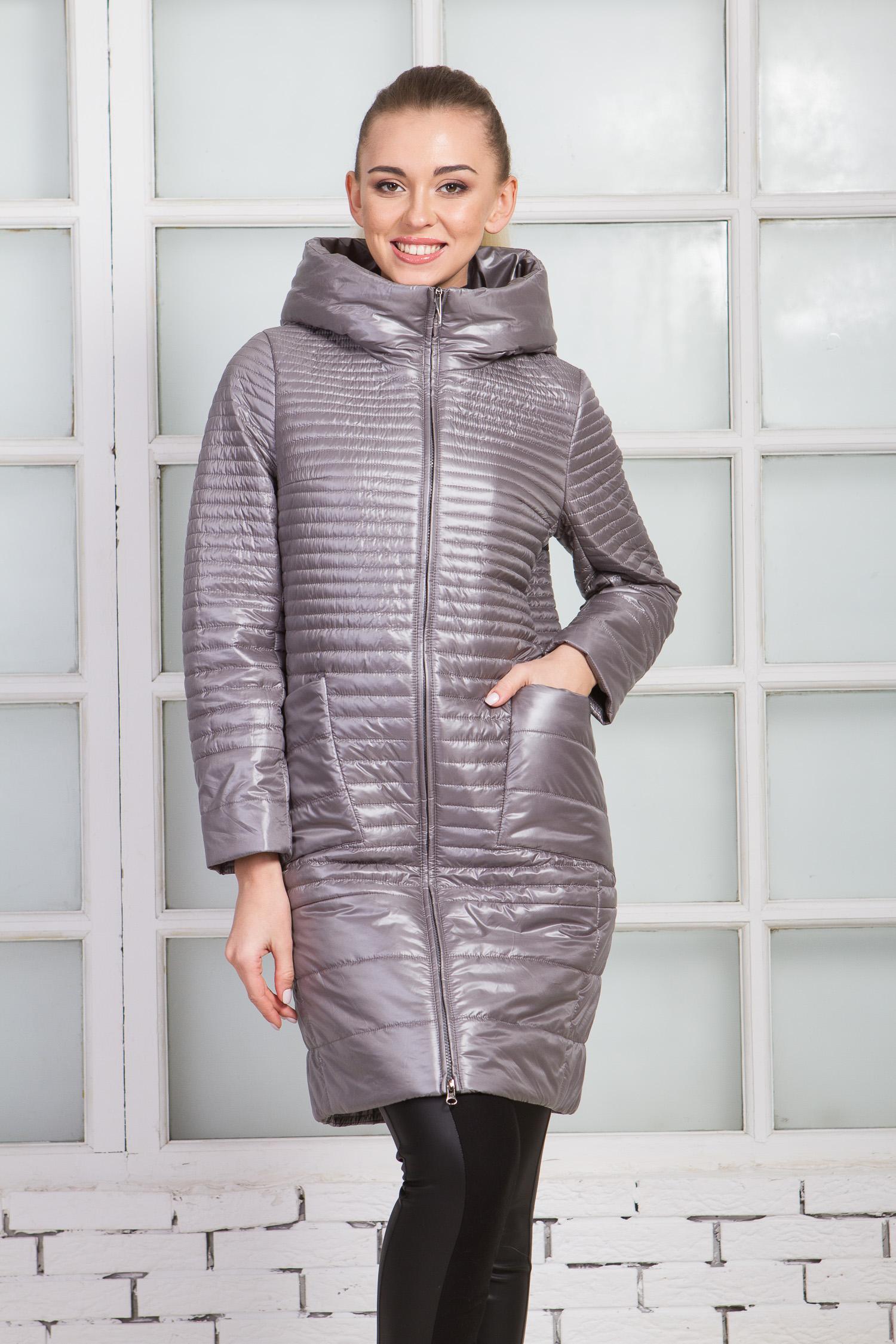 Женское пальто из текстиля с капюшоном, без отделки Московская Меховая Компания