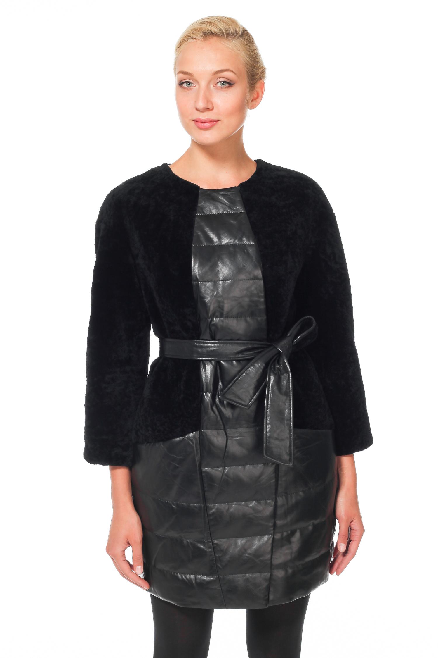 Женское пальто с воротником - астраган/кожа<br><br>Длина см: Длинная (свыше 90)<br>Материал: Астраган<br>Цвет: черный<br>Пол: Женский<br>Размер RU: 50