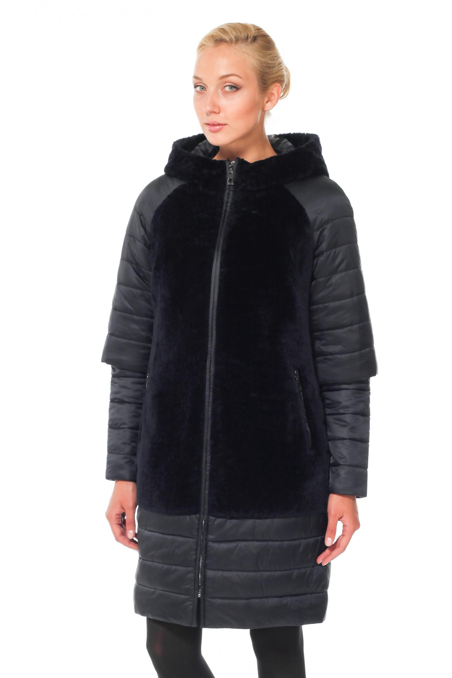 Женское пальто с капюшоном - астраган/текстиль
