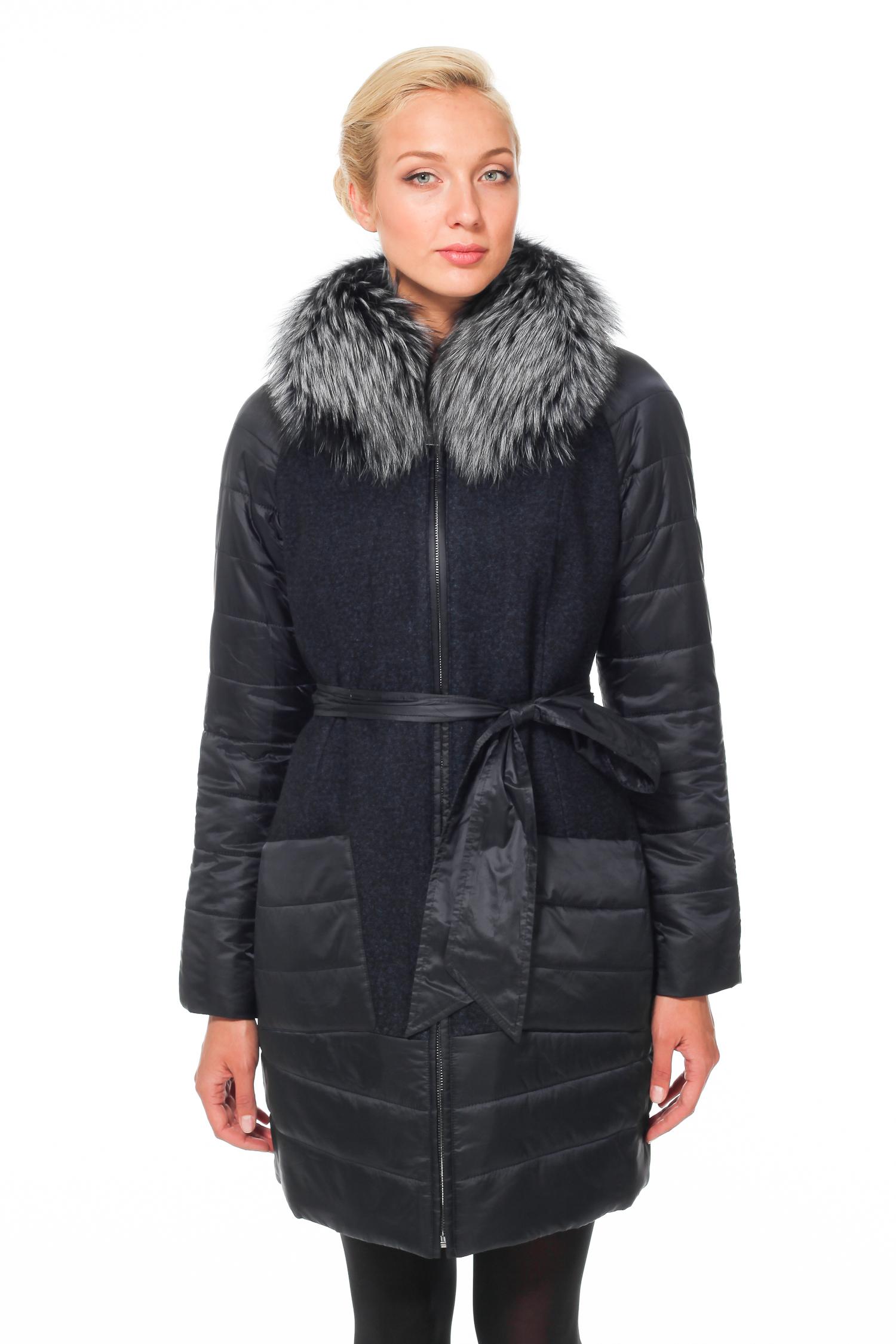 Женское пальто с воротником  - текстиль, отделка чернобурка<br><br>Воротник: отложной<br>Длина см: Длинная (свыше 90)<br>Материал: Шерсть<br>Цвет: синий<br>Вид застежки: центральная<br>Застежка: на молнии<br>Пол: Женский<br>Размер RU: 50