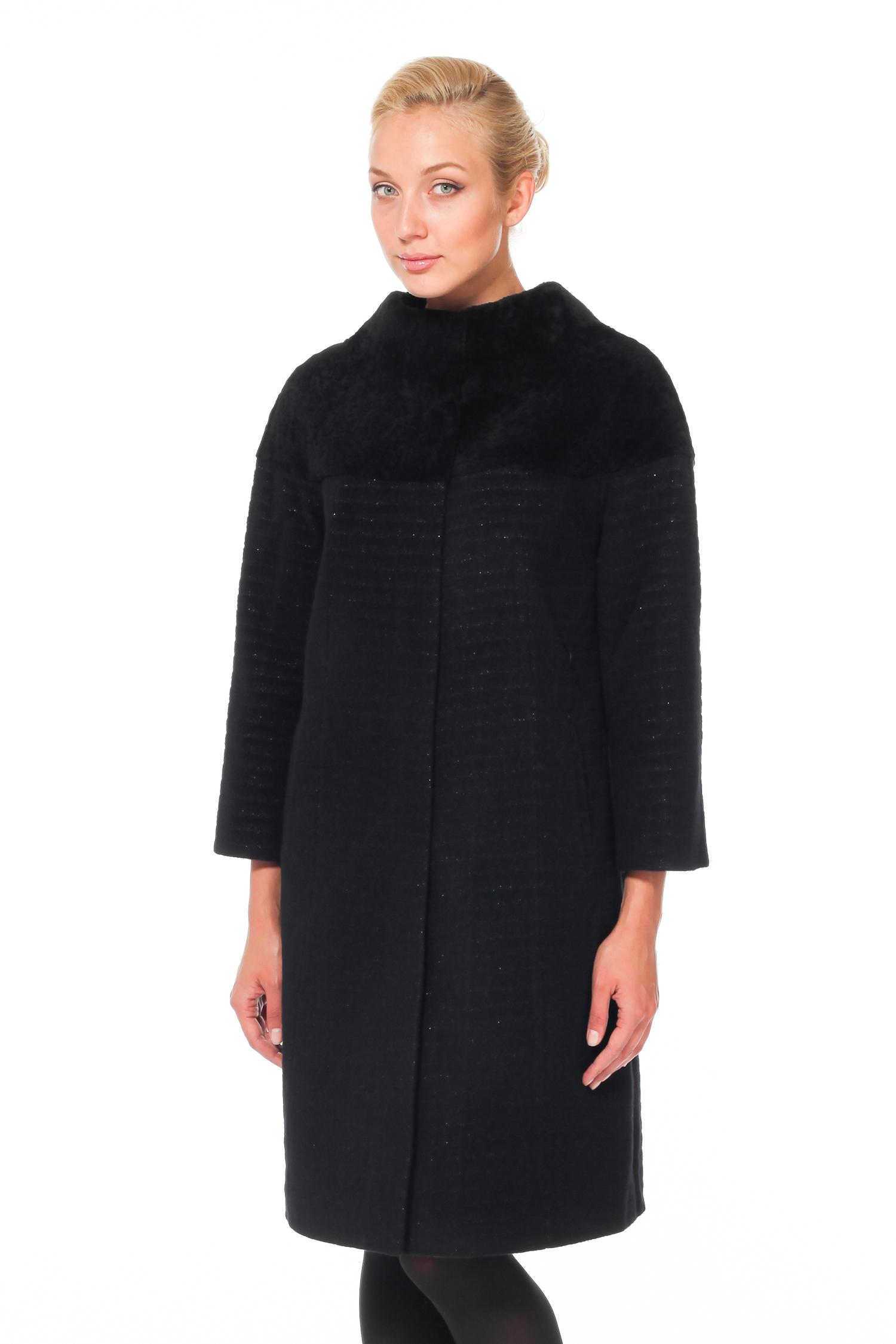 Женское пальто с воротником - астраган/текстиль<br><br>Воротник: стойка<br>Длина см: Длинная (свыше 90)<br>Материал: Текстиль<br>Цвет: черный<br>Вид застежки: потайная<br>Застежка: на кнопки<br>Пол: Женский<br>Размер RU: 54