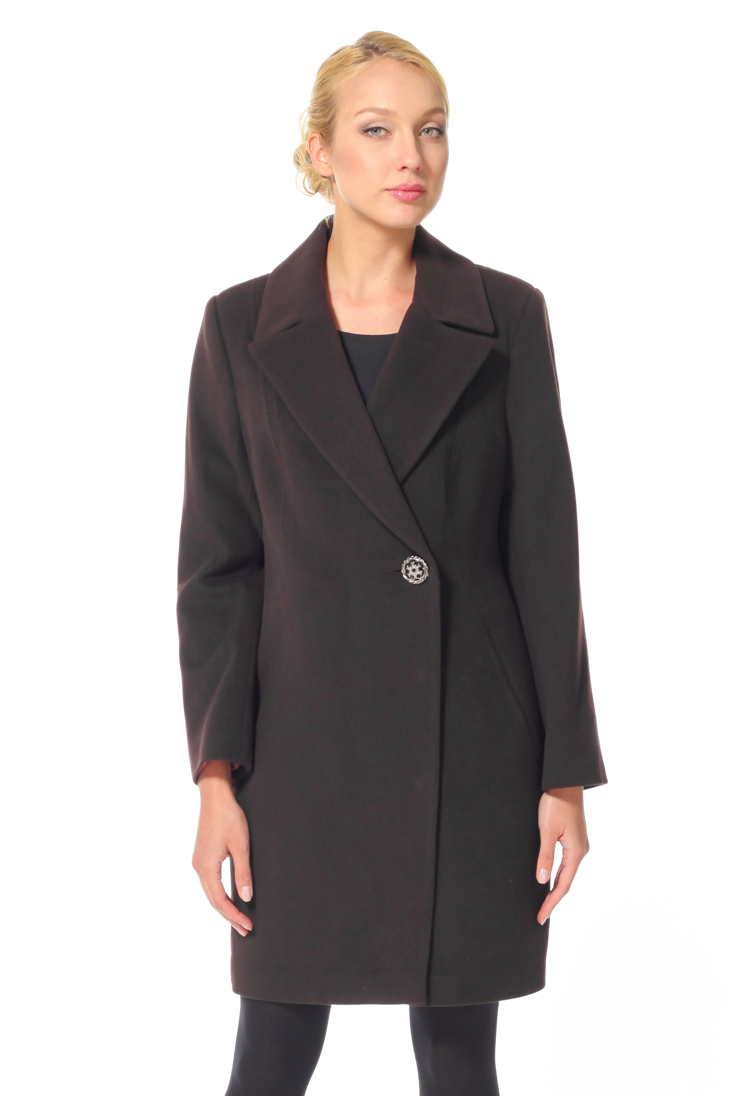 Женское пальто с воротником, без отделки<br><br>Воротник: Английский<br>Длина см: 90<br>Материал: 55% шерсть 45% полиамид<br>Цвет: Темно-коричневый<br>Пол: Женский