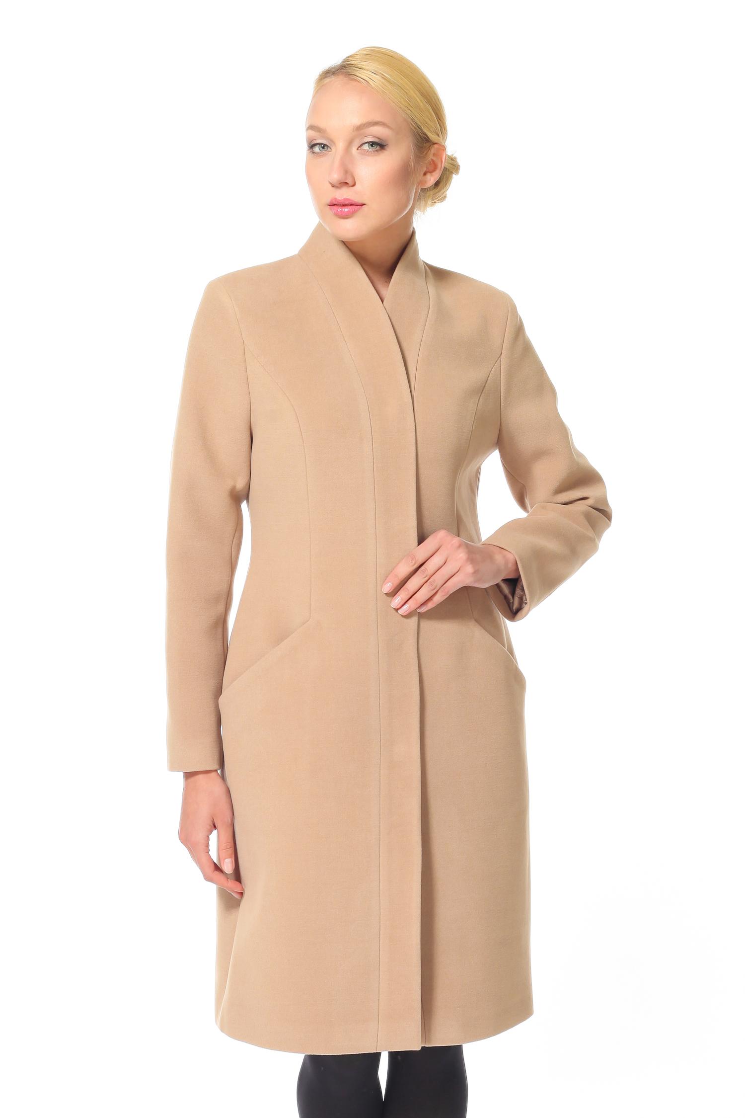 Женское пальто с воротником, без отделки<br><br>Воротник: Оригинальный<br>Длина см: 100<br>Материал: Текстиль<br>Цвет: Светло-коричневый<br>Пол: Женский
