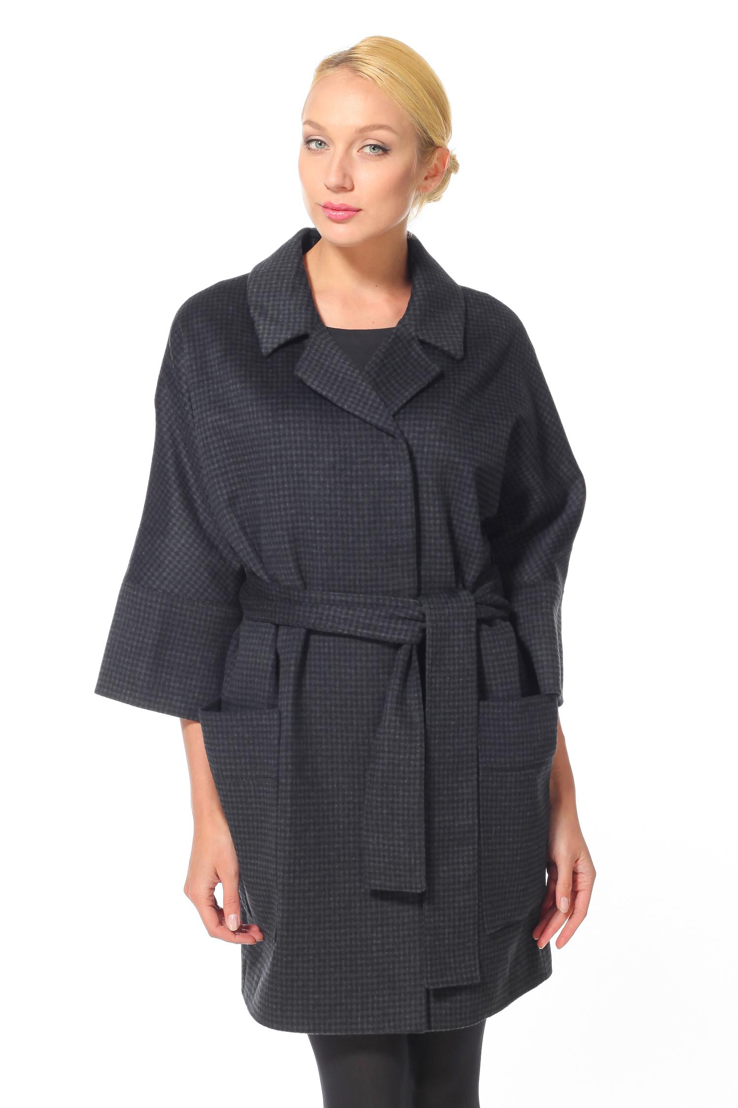 Женское пальто с воротником, без отделки<br><br>Воротник: Английский<br>Длина см: 90<br>Материал: Текстиль<br>Цвет: Темно-серый<br>Пол: Женский