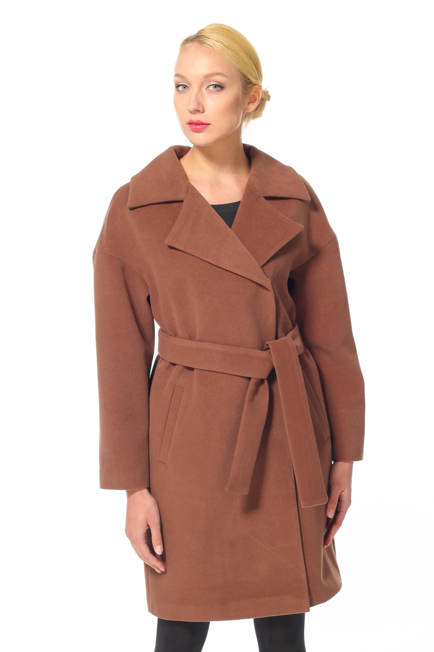 Женское пальто с воротником, без отделки<br><br>Воротник: Английский<br>Длина см: 95<br>Материал: 75% полиэстер 25% вискоза<br>Цвет: Коричневый<br>Пол: Женский