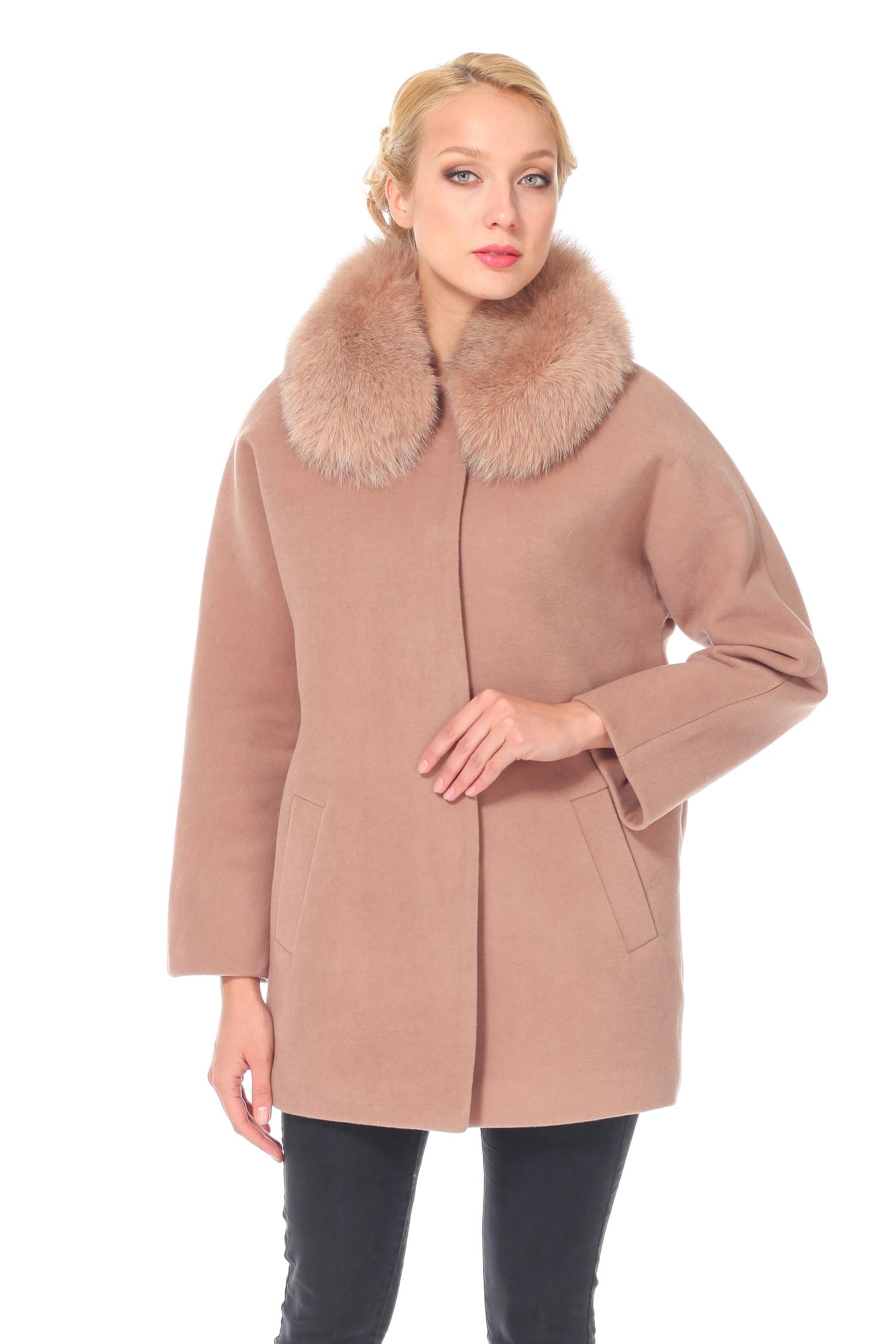 Женское пальто с воротником, отделка песец<br><br>Воротник: Обычный<br>Длина см: 80<br>Материал: 75% полиэстер 25% вискоза<br>Цвет: Бежевый<br>Вид застежки: Песец<br>Пол: Женский