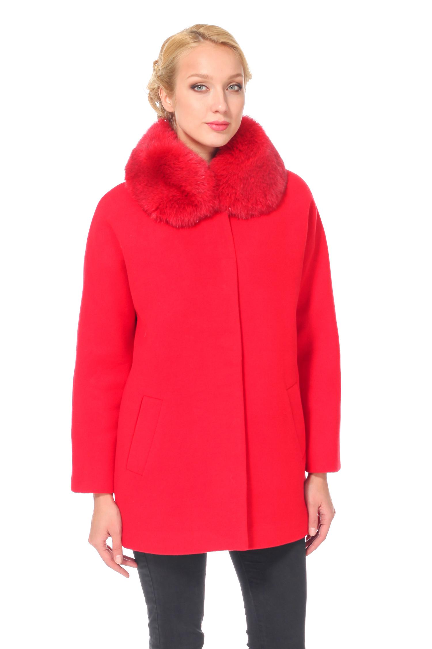 Женское пальто с воротником, отделка песец<br><br>Воротник: Обычный<br>Длина см: 80<br>Материал: 75% полиэстер 25% вискоза<br>Цвет: Красный<br>Вид застежки: Песец<br>Пол: Женский