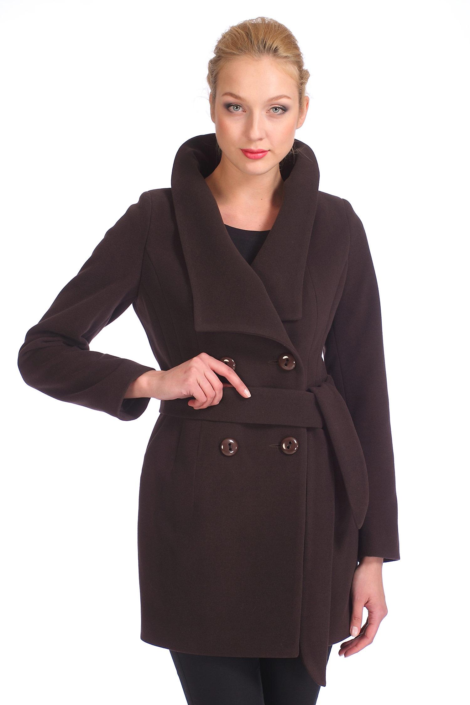 Женское пальто с воротником, без отделки<br><br>Длина см: 80<br>Воротник: Оригинальный<br>Материал: 80% шерсть 20% полиамид<br>Цвет: Коричневый<br>Пол: Женский<br>Размер RU: 42