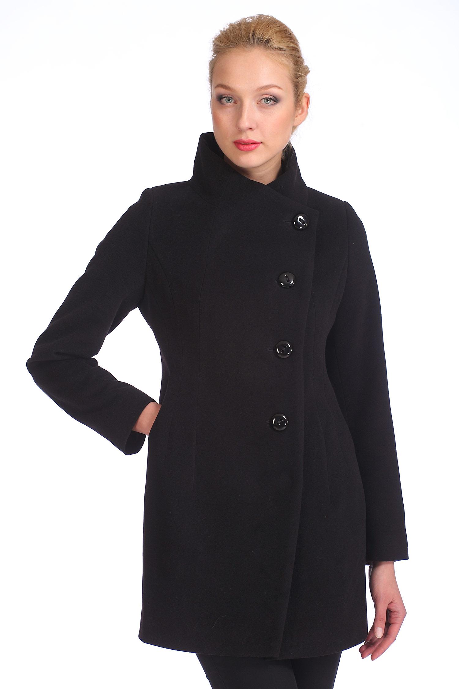 Женское пальто с воротником, без отделки<br><br>Воротник: стойка<br>Длина см: Средняя (75-89 )<br>Материал: Комбинированный состав<br>Цвет: черный<br>Вид застежки: косая<br>Застежка: на пуговицы<br>Пол: Женский<br>Размер RU: 42